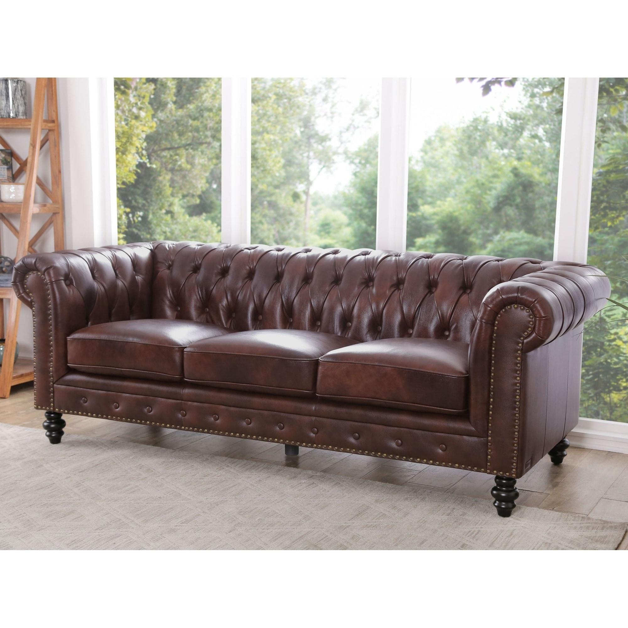 LOFT Cognac Rodeo Leather Sofa 277CM