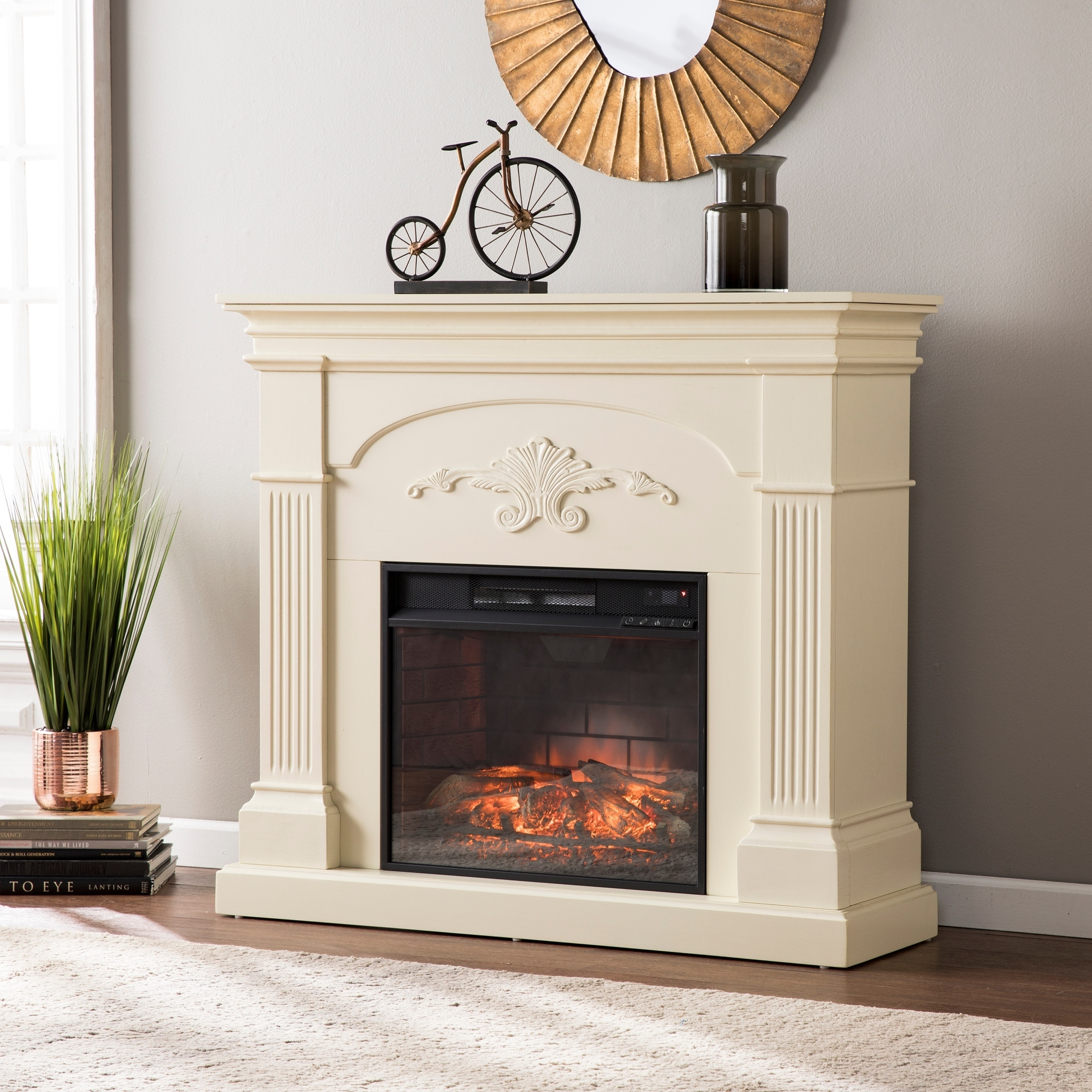 Shop Gracewood Hollow Niatum Ivory Infrared Electric Fireplace  On