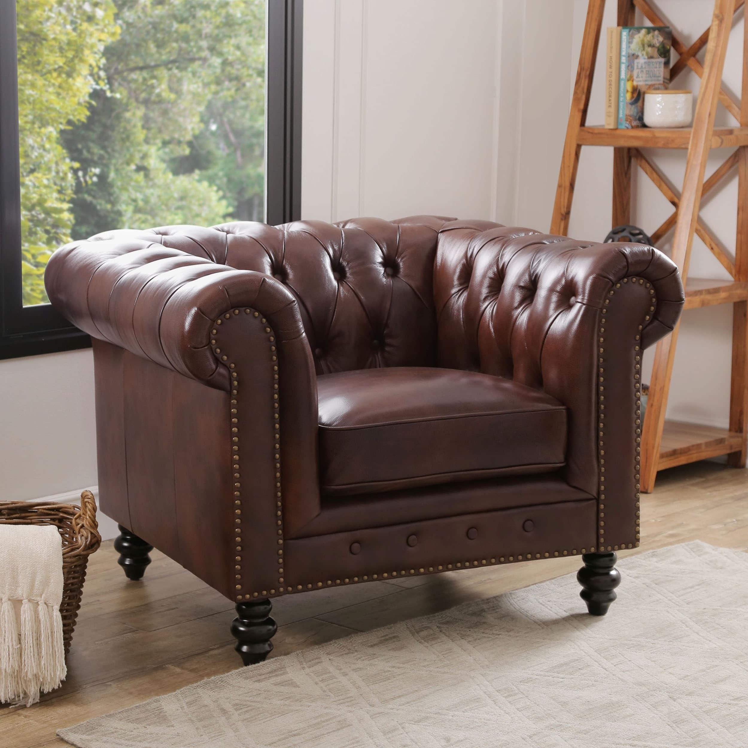 Shop Abbyson Grand Chesterfield Brown Top Grain Leather Armchair