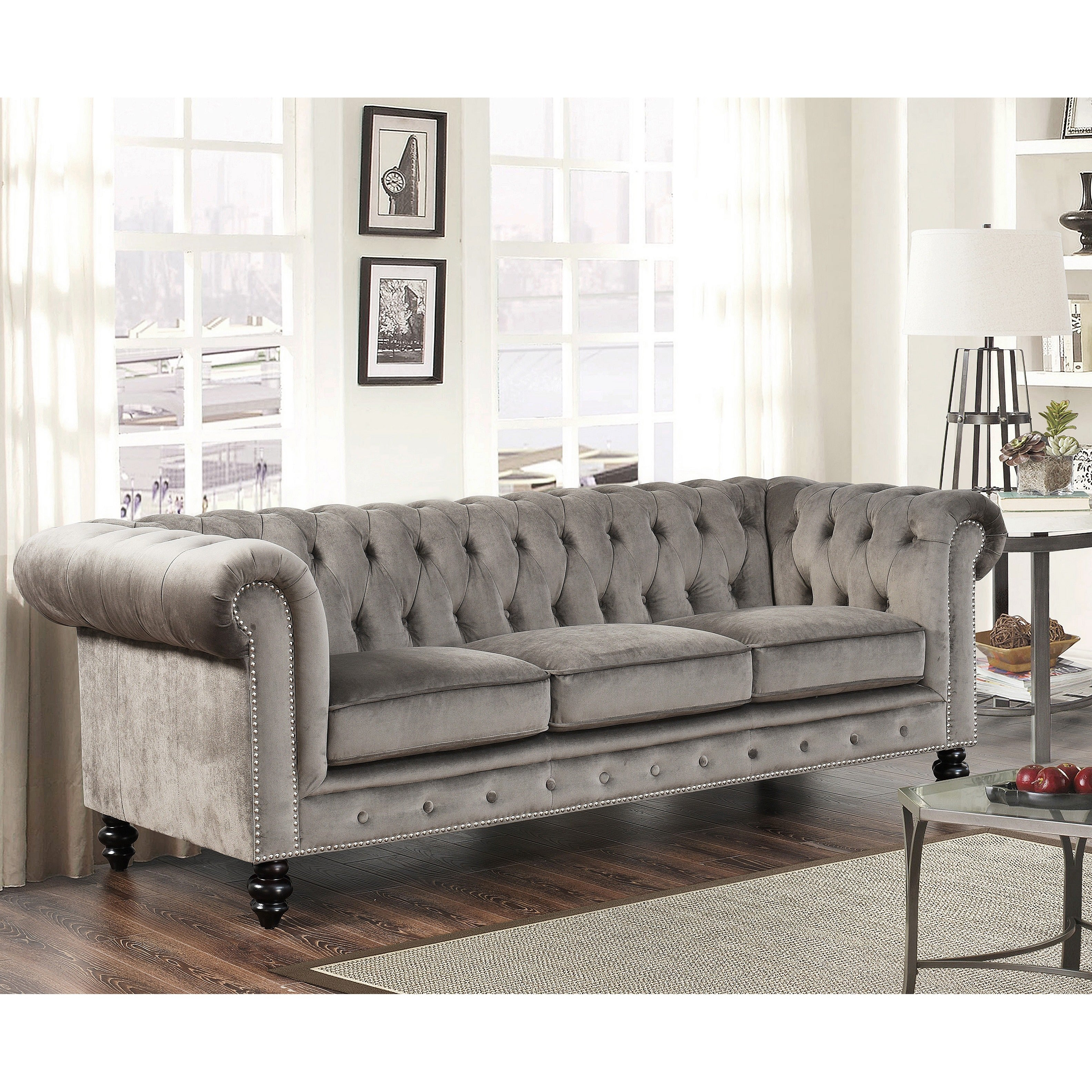 Exceptionnel Shop Abbyson Grand Chesterfield Grey Velvet 3 Piece Living Room Set   On  Sale   Free Shipping Today   Overstock.com   11808168