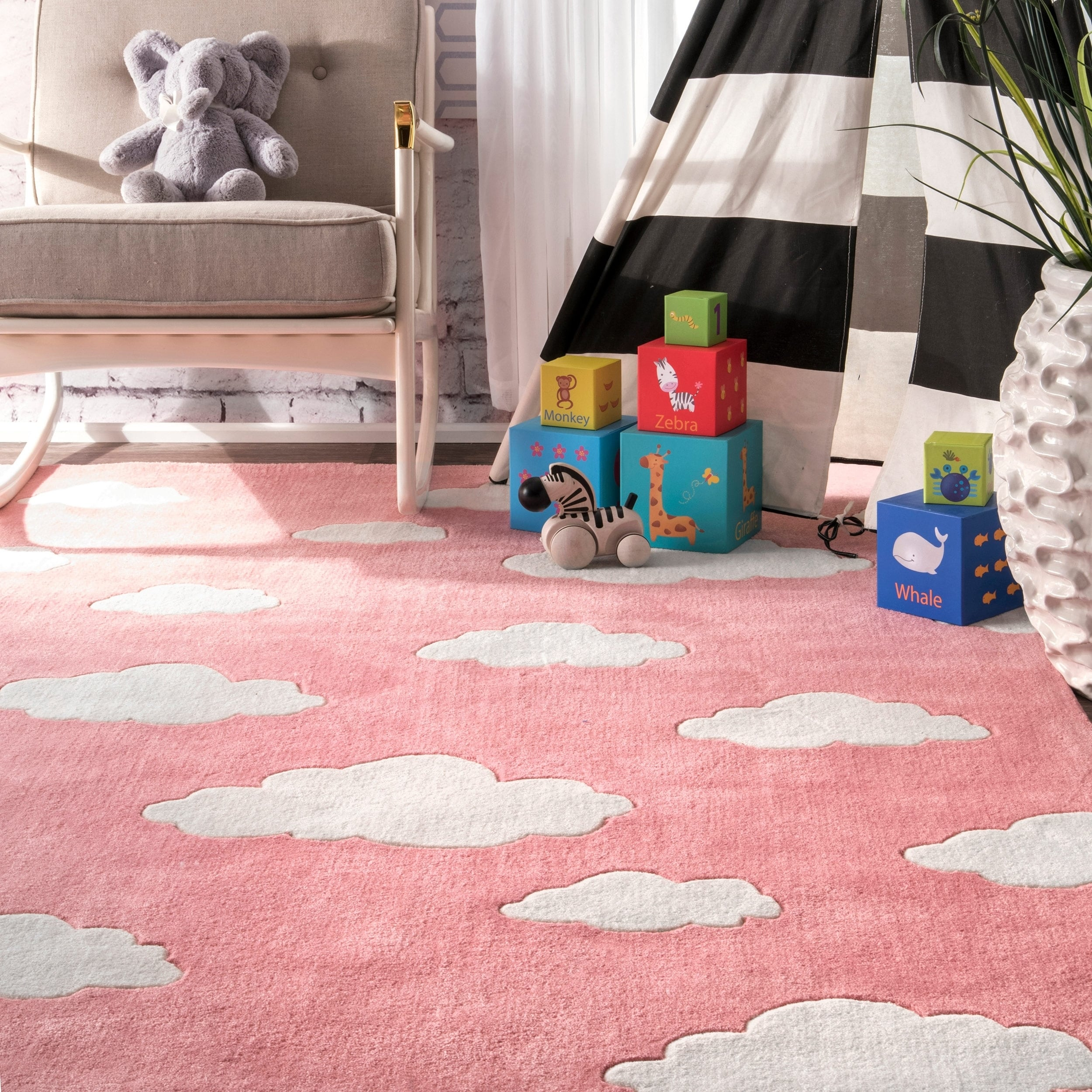 rugs rug kids garden nuloom round overstock shipping modern home nursery product clouds pink runner for x today handmade free