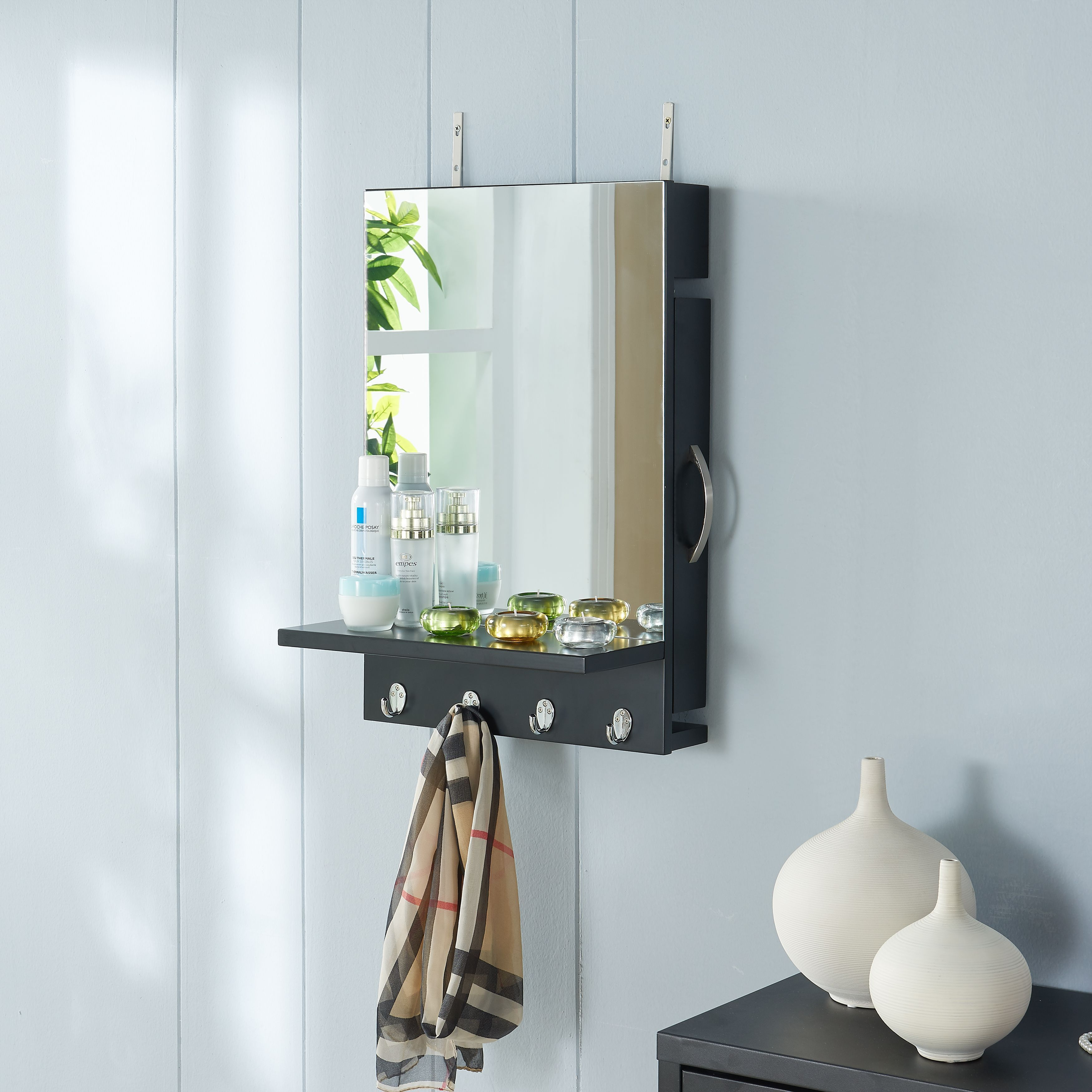 Shop Danya B Black Cabinet Mirror With Hidden Sliding Jewelry Door