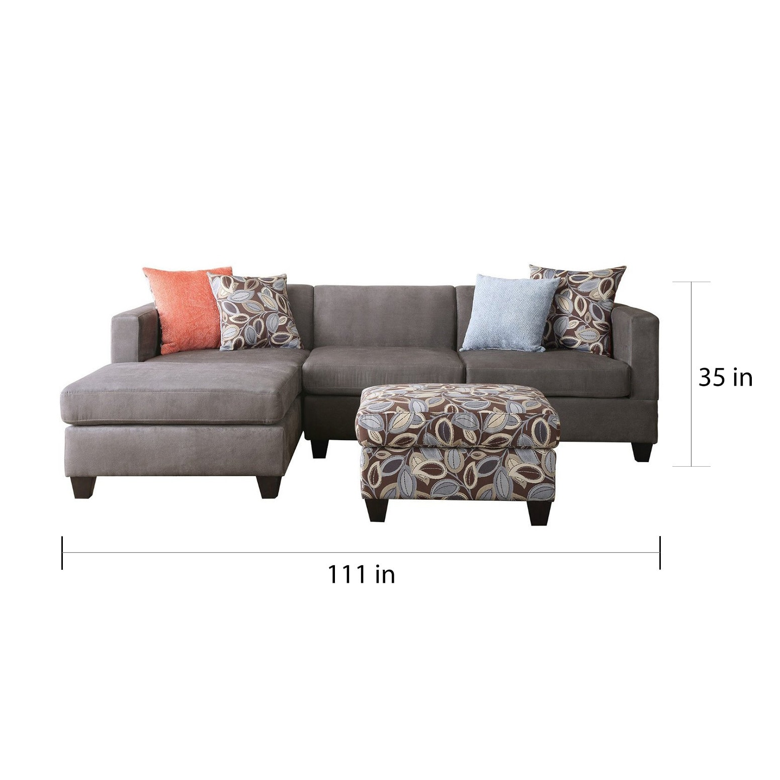 Shop Small Space Reversible Grey Microfiber 3-piece Sectional Sofa ...