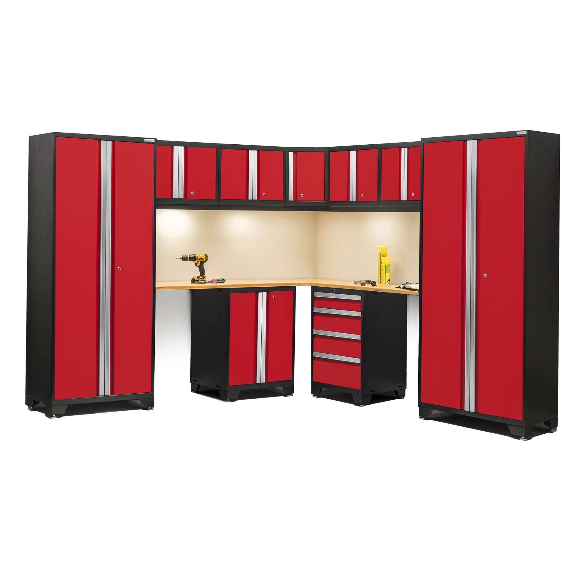 Shop NewAge Bold Series 12 Piece Bamboo Topped Corner Cabinet Set   Free  Shipping Today   Overstock.com   11815787