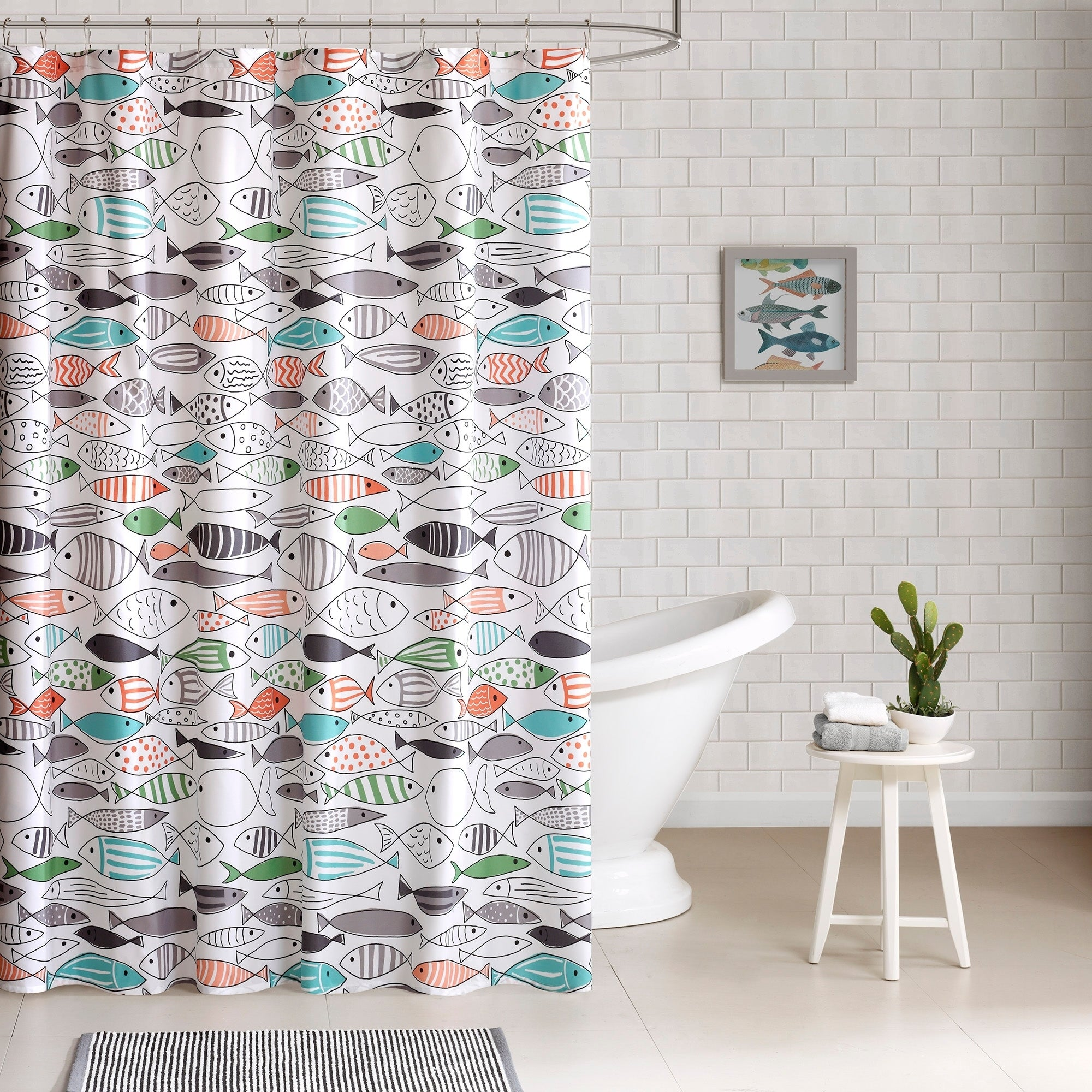 Shop HipStyle Madfish Cotton Printed Shower Curtain
