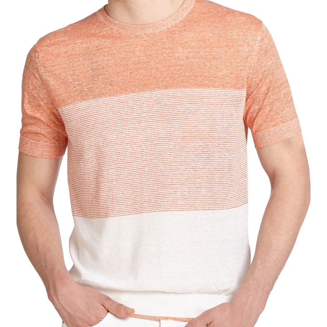 4912fa7ebbca2 Shop Z Zegna Men s Orange and White Striped Sweater - On Sale - Free  Shipping Today - Overstock - 11816026