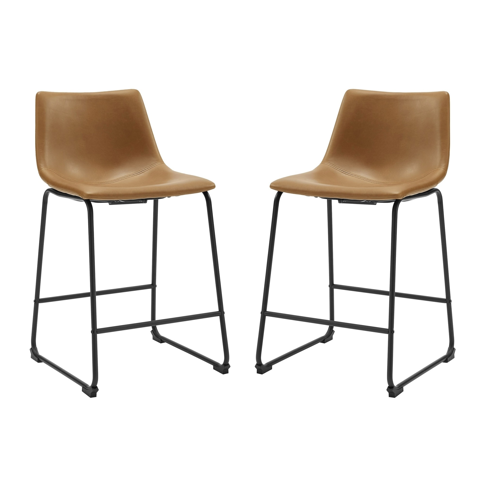 Shop Brown Faux Leather Counter Stools Set Of 2 Free Shipping