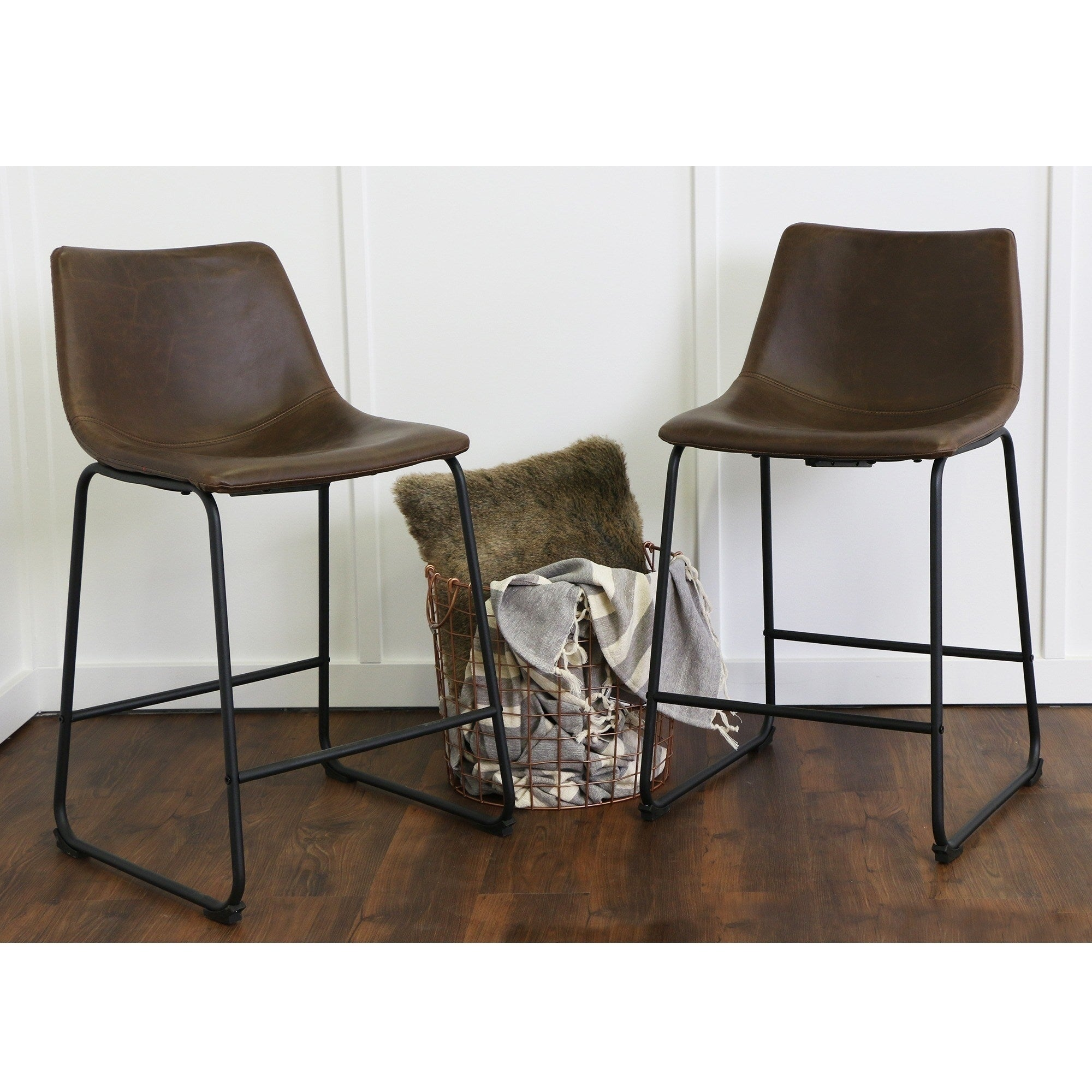 Shop 24 industrial faux leather counter stools 18 x 22 x 36h free shipping today overstock com 11816122