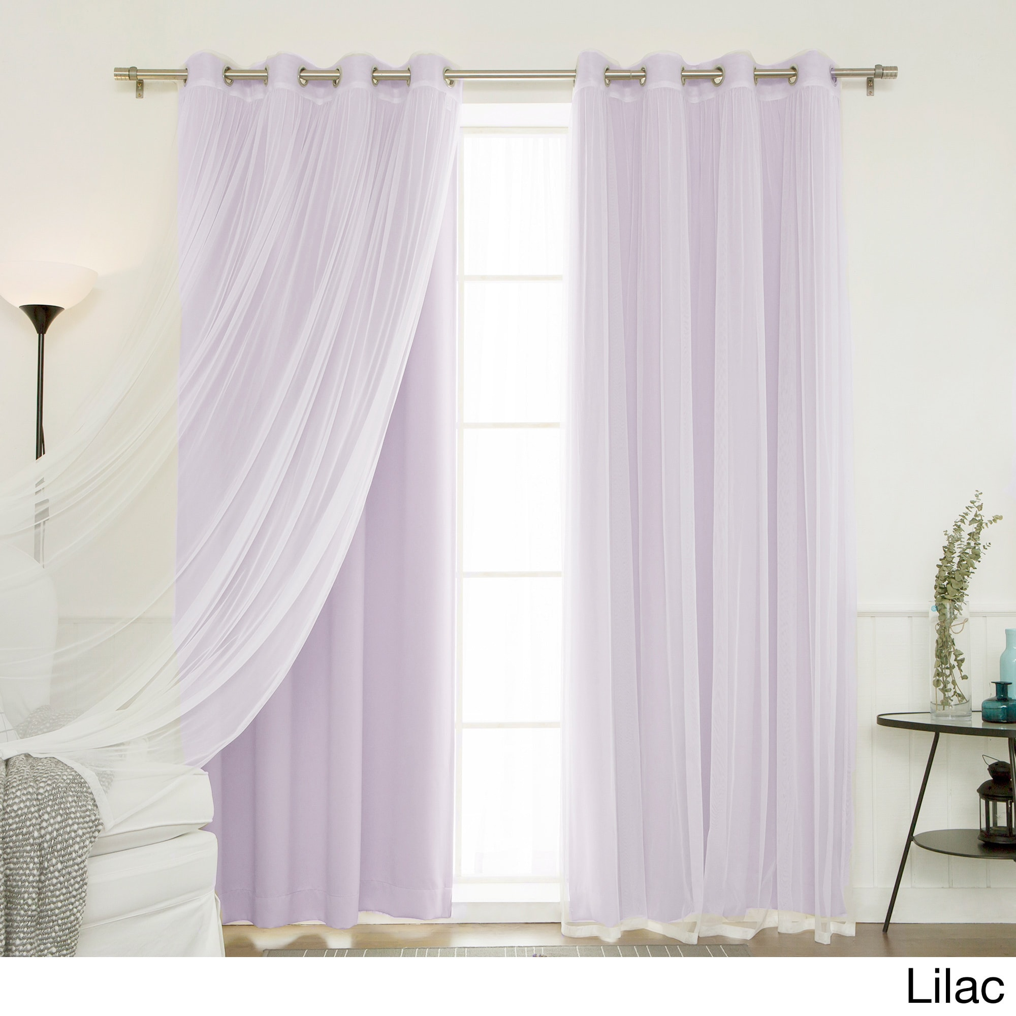 Shop Aurora Home Mix And Match Blackout Tulle Lace Sheer 4 Piece Curtain Panel Set