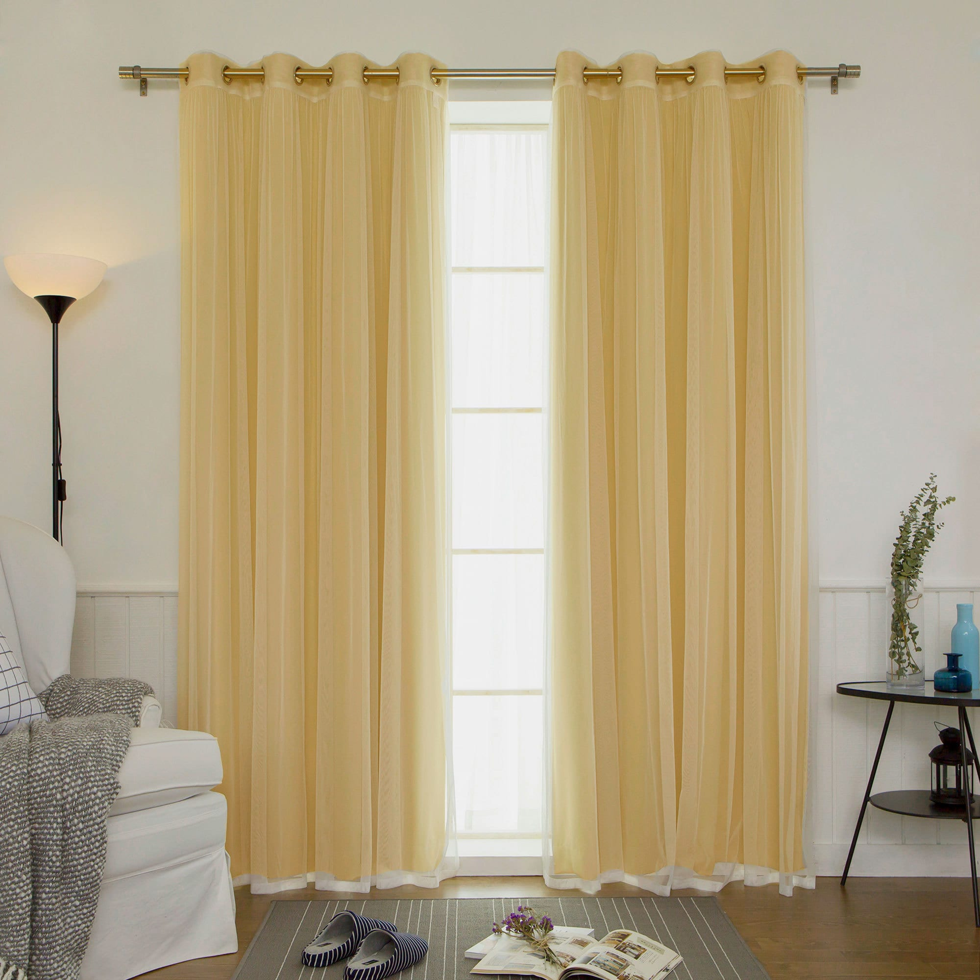 Aurora Home Mix & Match Blackout and Sheer Tulle Lace 4-piece Curtain Panel  Pair - Free Shipping Today - Overstock.com - 18722886