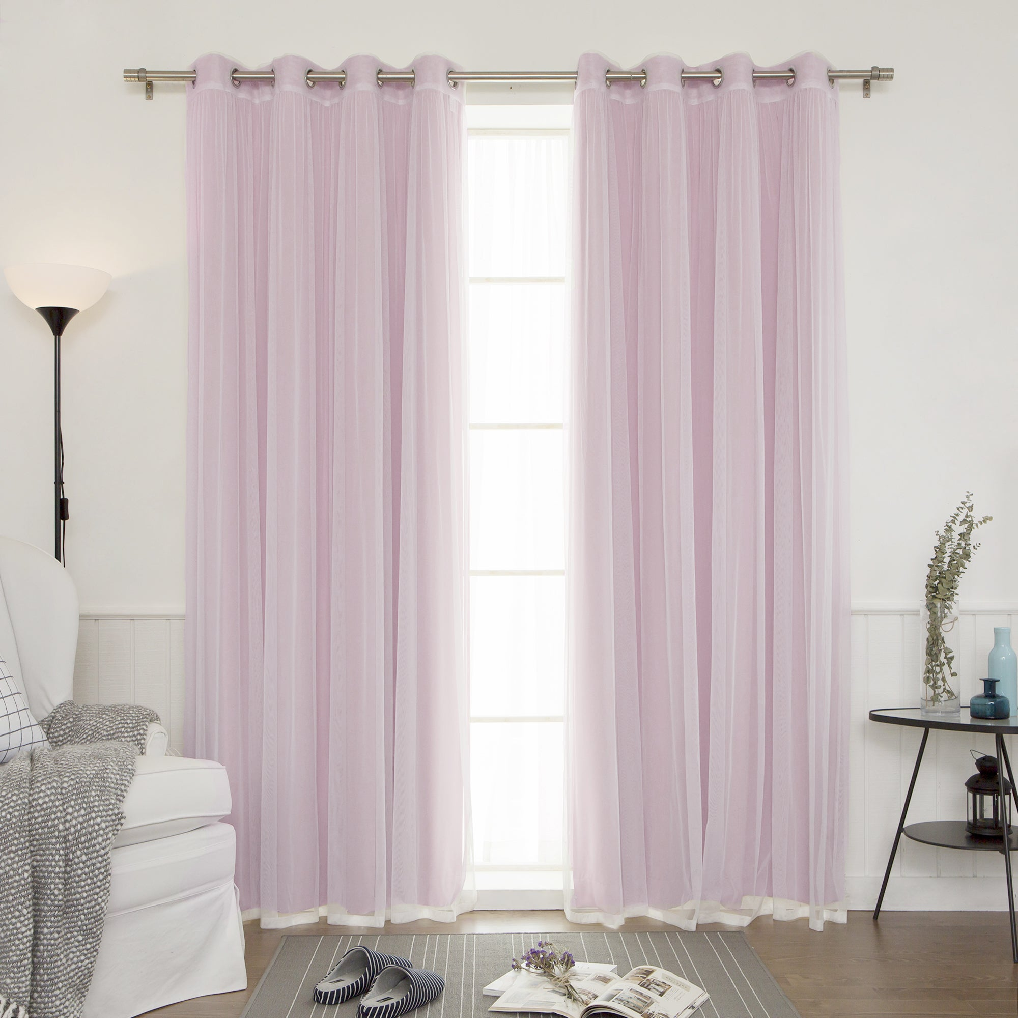 Aurora Home Mix  for Sheer Lavender Curtains  83fiz