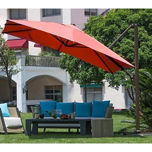 Abba Patio Polyester 10 Square Easy Open Offset Outdoor Umbrella Parasol With Cross Base Free Shipping Today 11818557