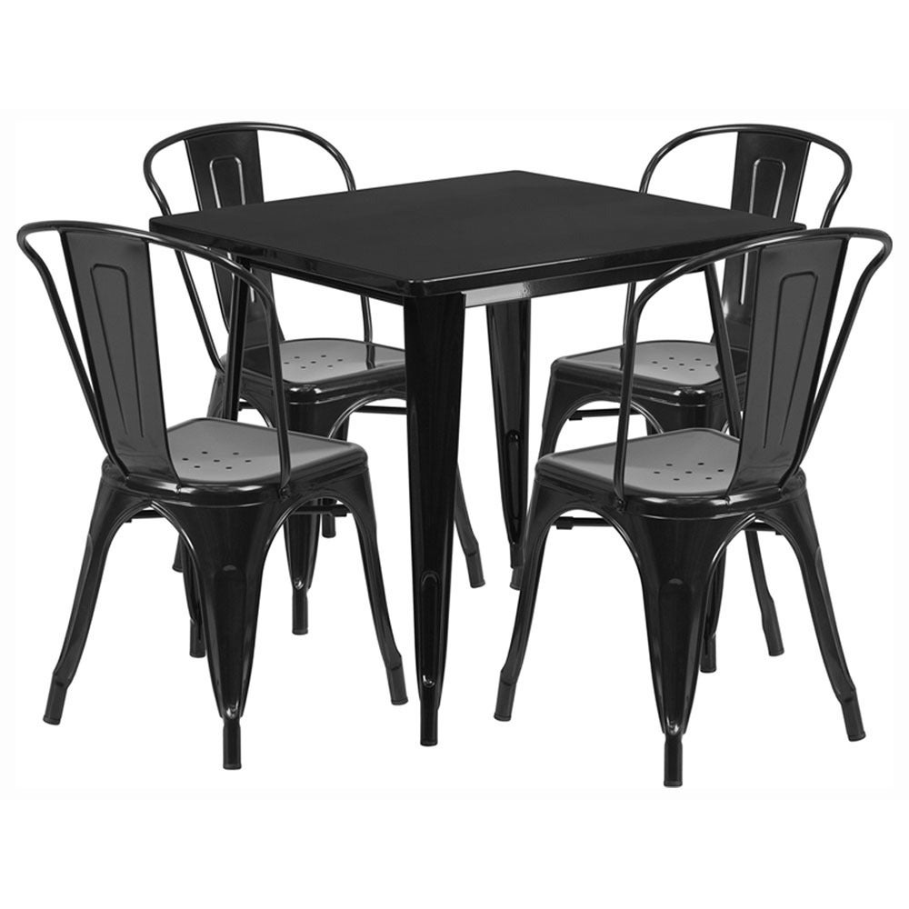 Shop Offex Inch Home Indoor Metal Square Cafe Table Set With - Metal cafe table and chairs