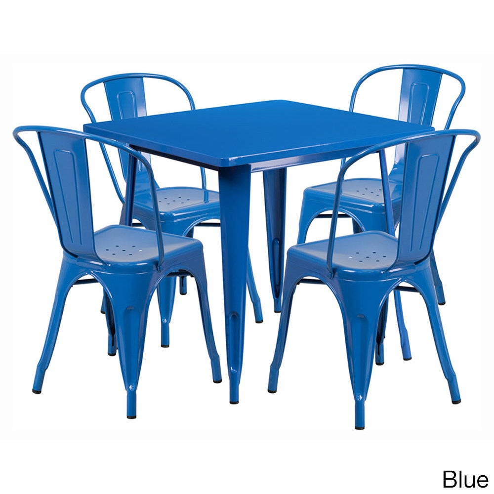 Shop Offex 31.5 inch Home Indoor Metal Square Cafe Table Set With 4 ...