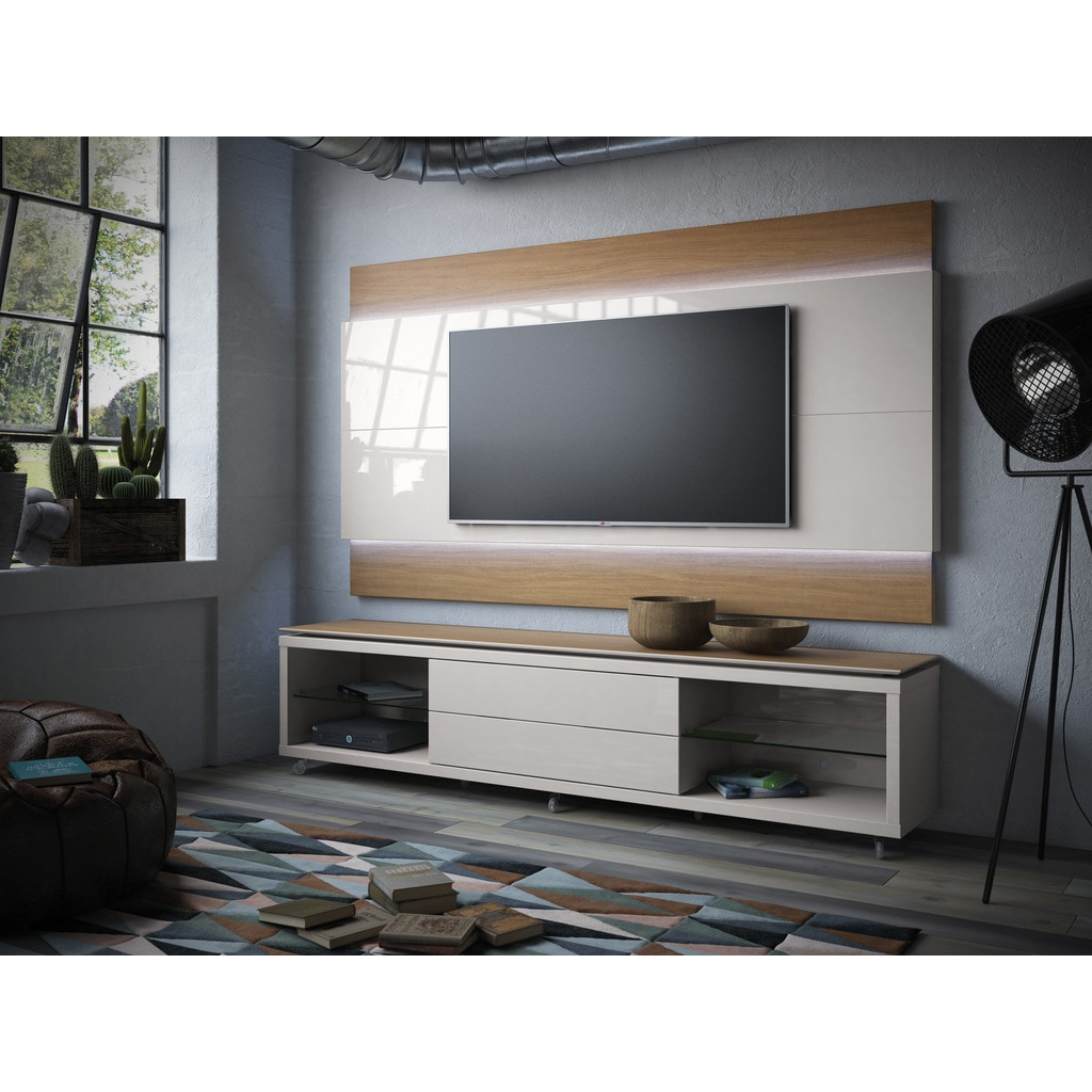 Manhattan Comfort Lincoln White Gloss Floating Wall Tv Panel 2 4 With Led Lights Free Shipping Today 11818994