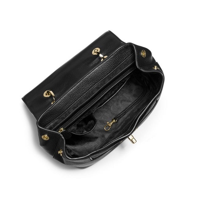 00b549d5860a23 Shop Michael Kors Emery Black Medium Pebbled-Leather Satchel Handbag - Free  Shipping Today - Overstock - 11819261