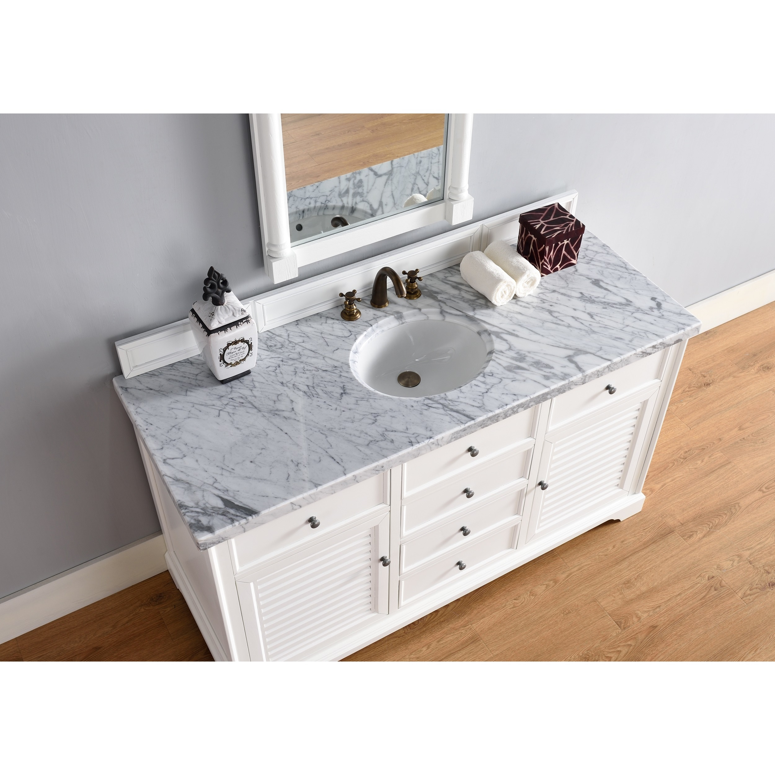 Shop Savannah Cottage White 60 Inch Single Vanity Cabinet   Free Shipping  Today   Overstock.com   11819343