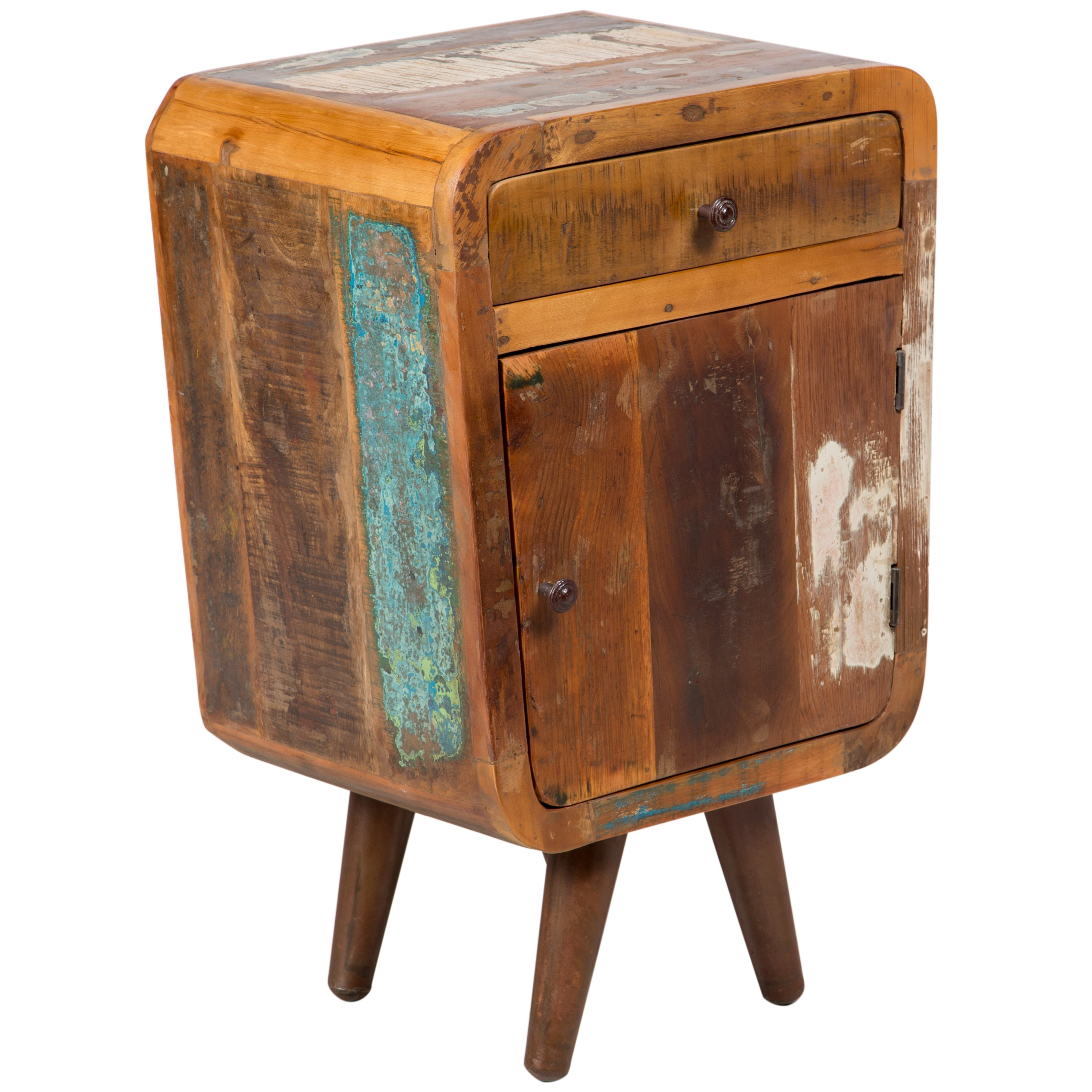 Shop Wanderloot Route 66 Mid Century Modern Reclaimed Wood End Table   Free  Shipping Today   Overstock.com   11820494