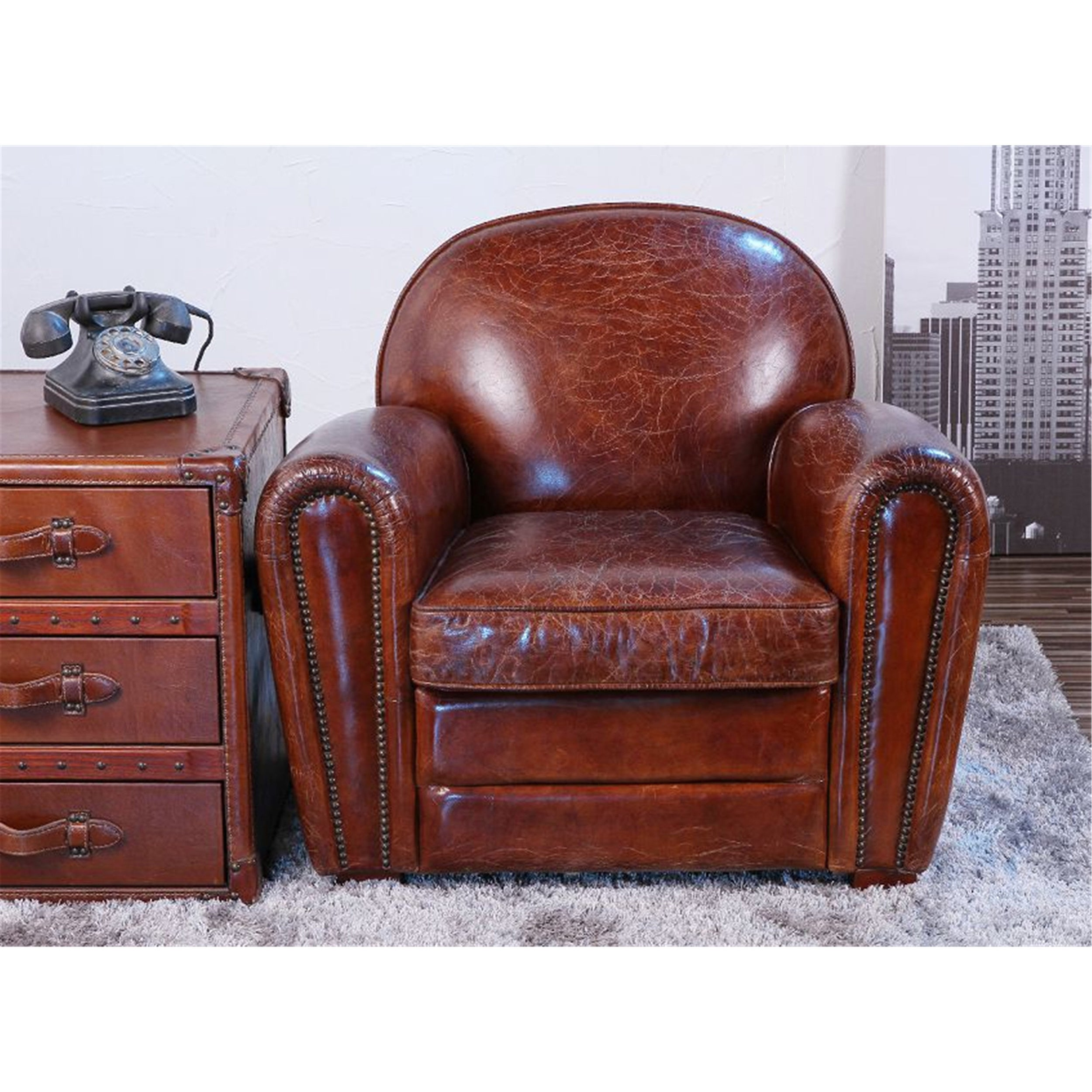 Pasargad Genuine Leather Paris Club Chair   Free Shipping Today    Overstock.com   18726392