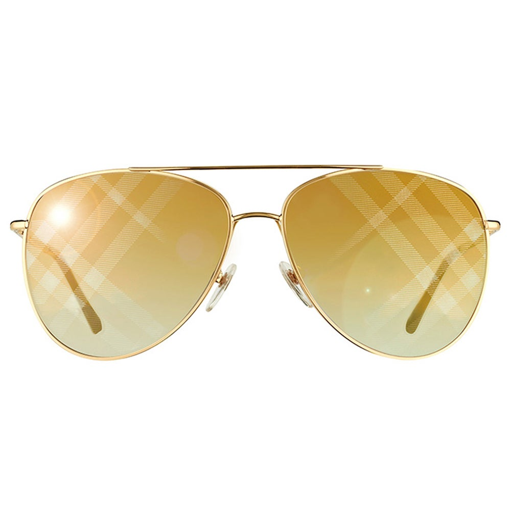 f73861acc8ad8 Shop Burberry BE 3072 1017B3 Gold Metal Aviator Gold Mirror Check Lens  Sunglasses - Free Shipping Today - Overstock - 11820817