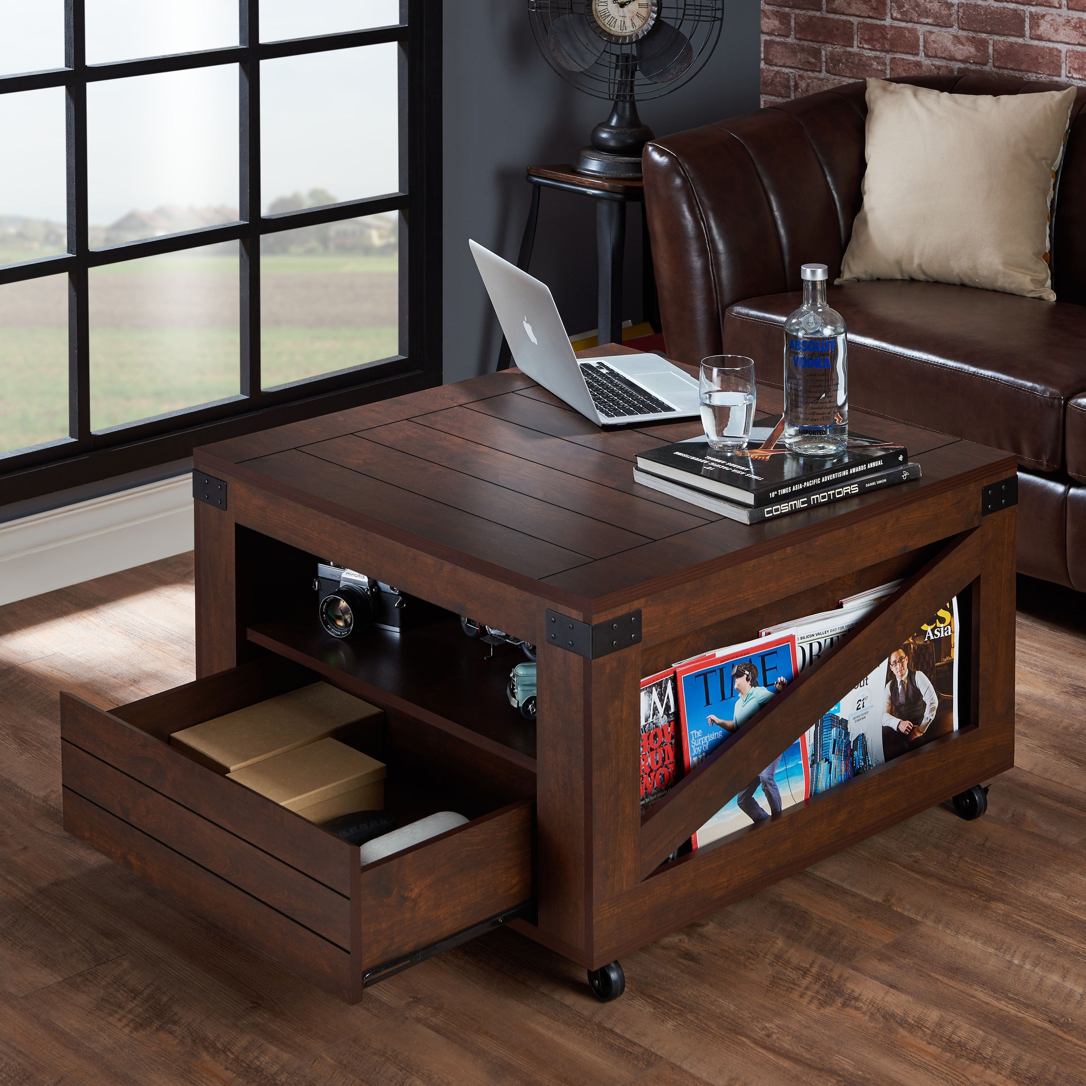 Furniture Of America Kala Square Vintage Walnut Coffee Table On Free Shipping Today 11820868