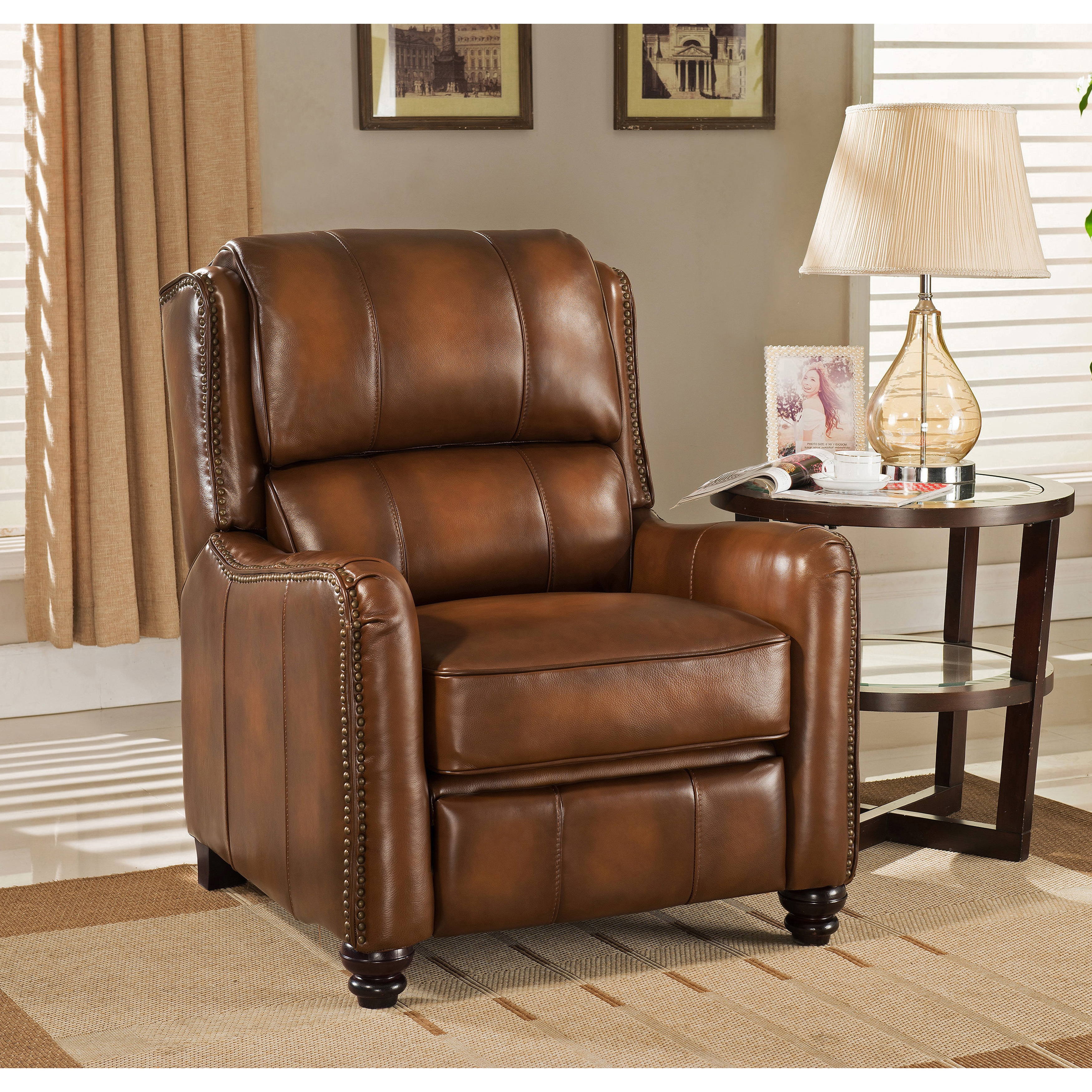 Shop Lowry Vintage Brown Premium Top Grain Leather Recliner Chair   Free  Shipping Today   Overstock.com   11828791