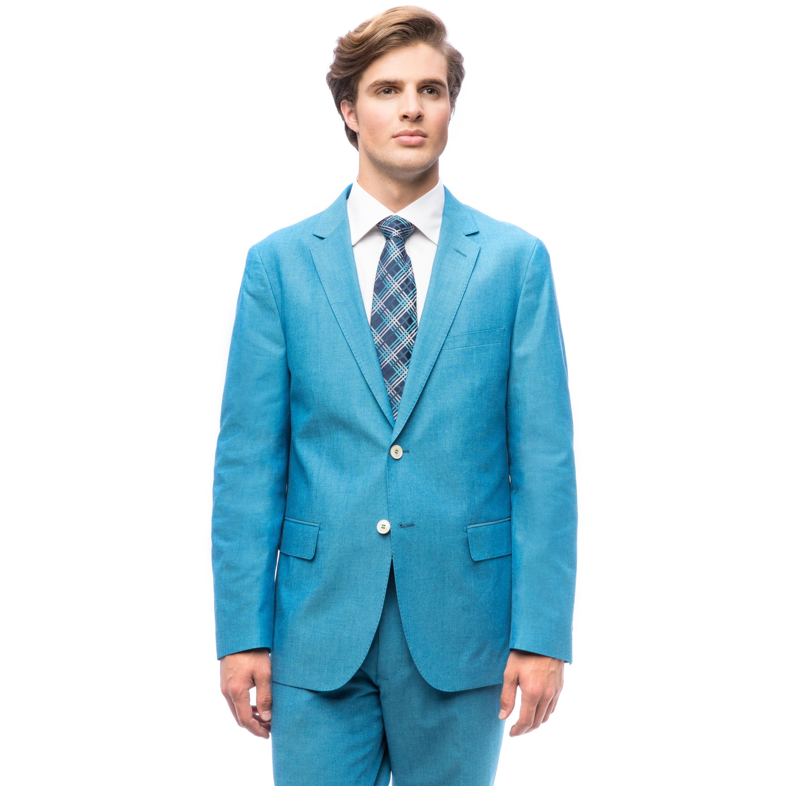 Shop Men\'s Aqua Blue Single-breasted Cotton Suit - On Sale - Free ...
