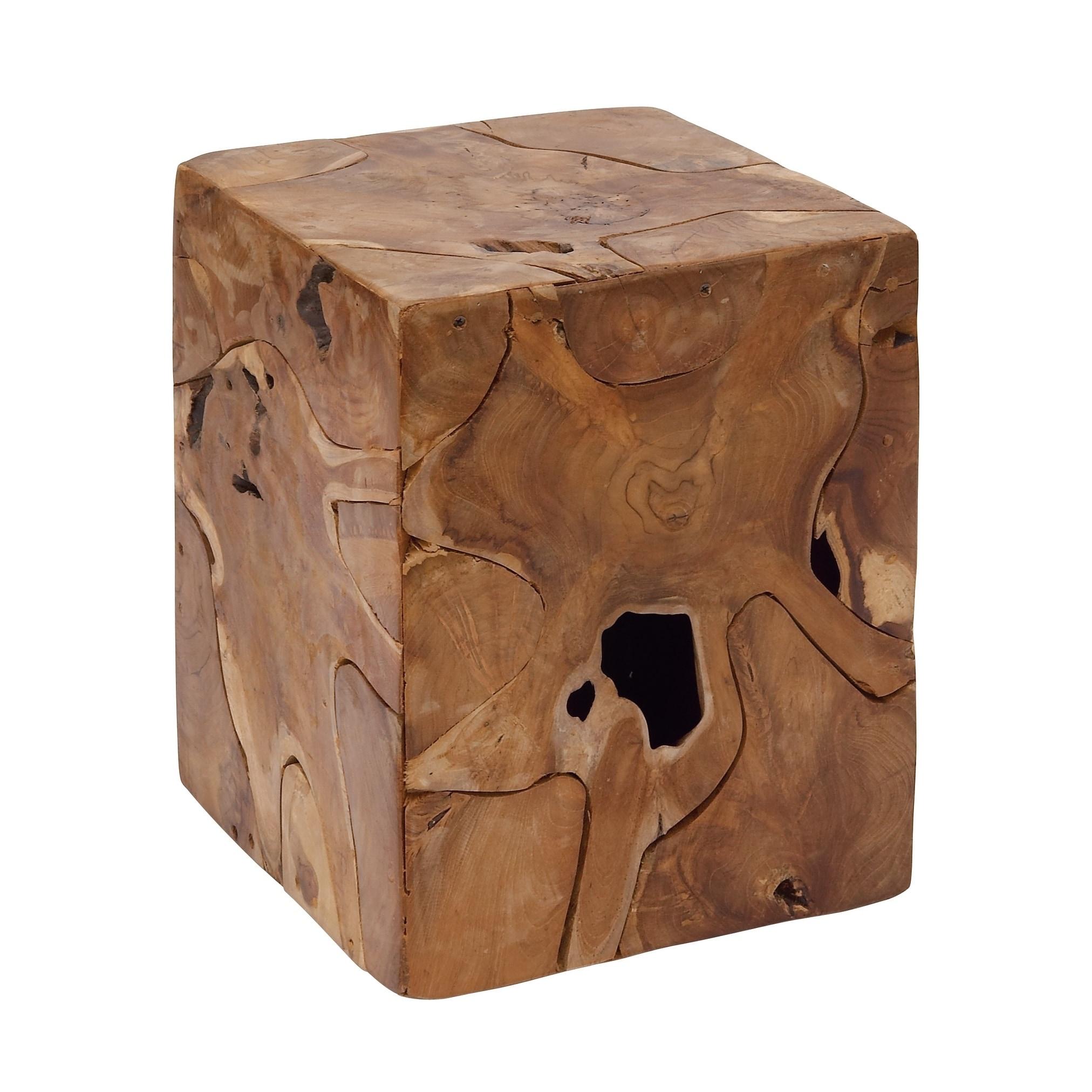 Shop Natural 18 x 14 Inch Brown Teak Wood Stool by Studio 350 - On ...