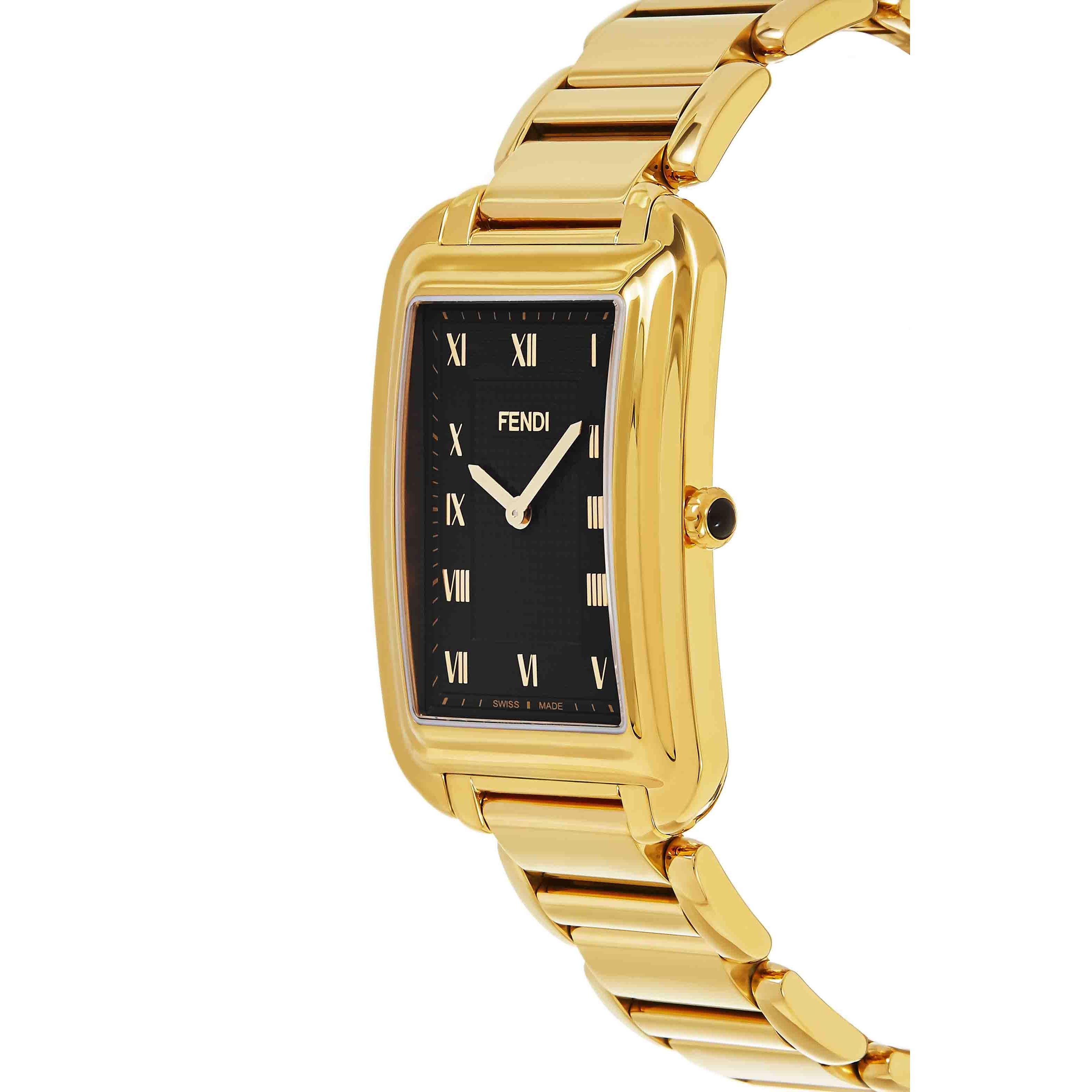 caab3c3f112e Fendi Men s  Classico Rectangle  Black Dial Yellow Goldtone Stainless Steel  Swiss Quartz Watch