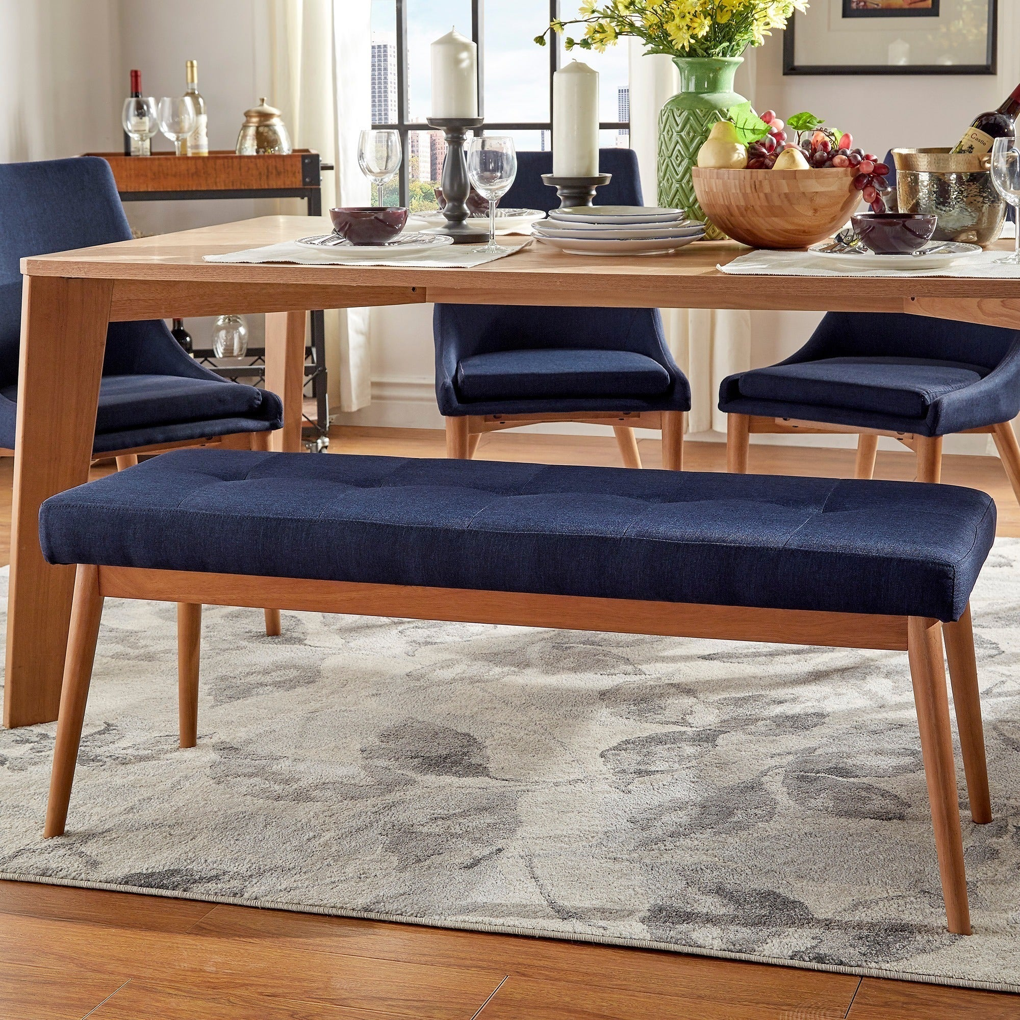 Superbe Shop Sasha Oak Angled Leg Linen Dining Bench INSPIRE Q Modern   Free  Shipping Today   Overstock.com   11835422