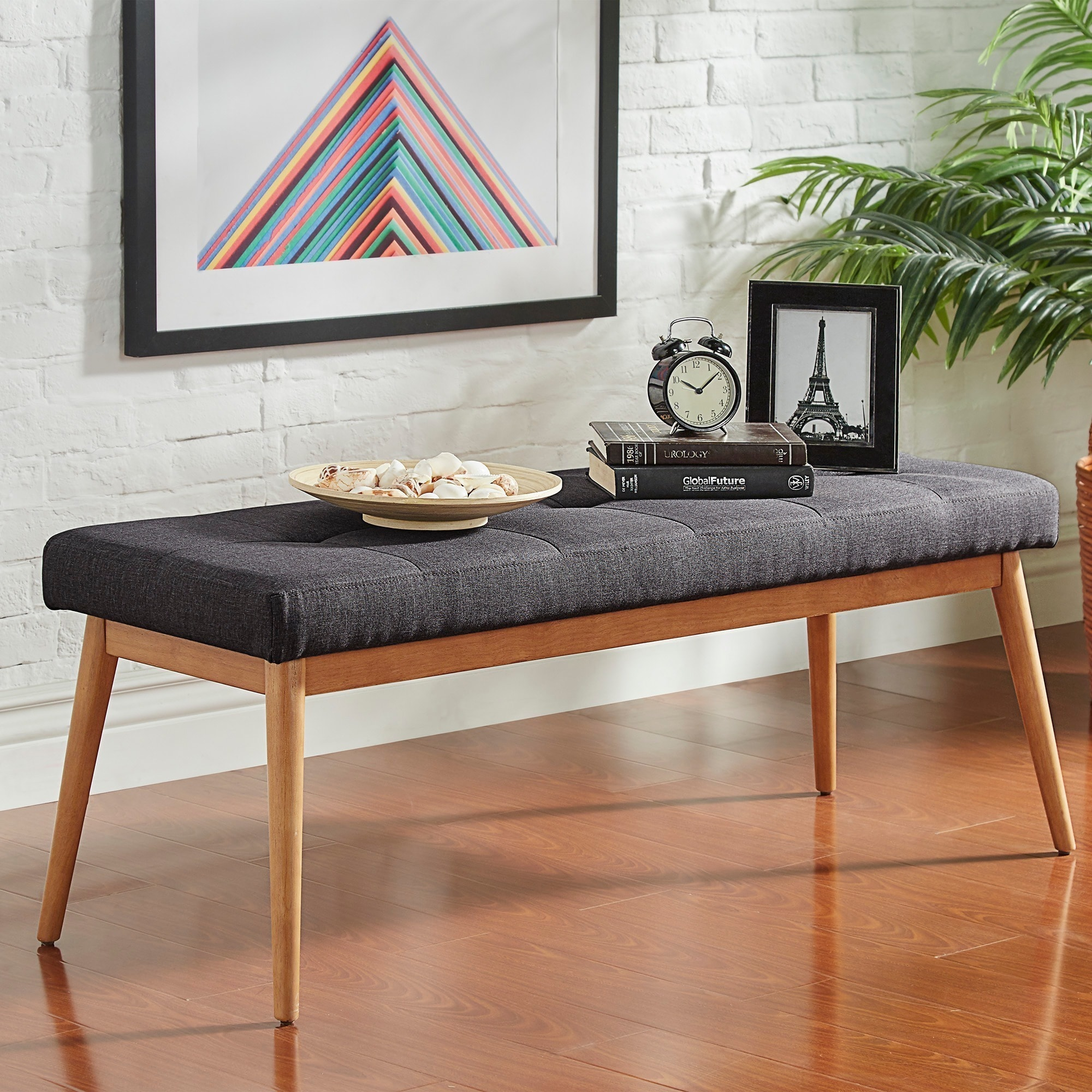 Shop Sasha Oak Angled Leg Linen Dining Bench INSPIRE Q Modern   On Sale    Free Shipping Today   Overstock.com   11835422