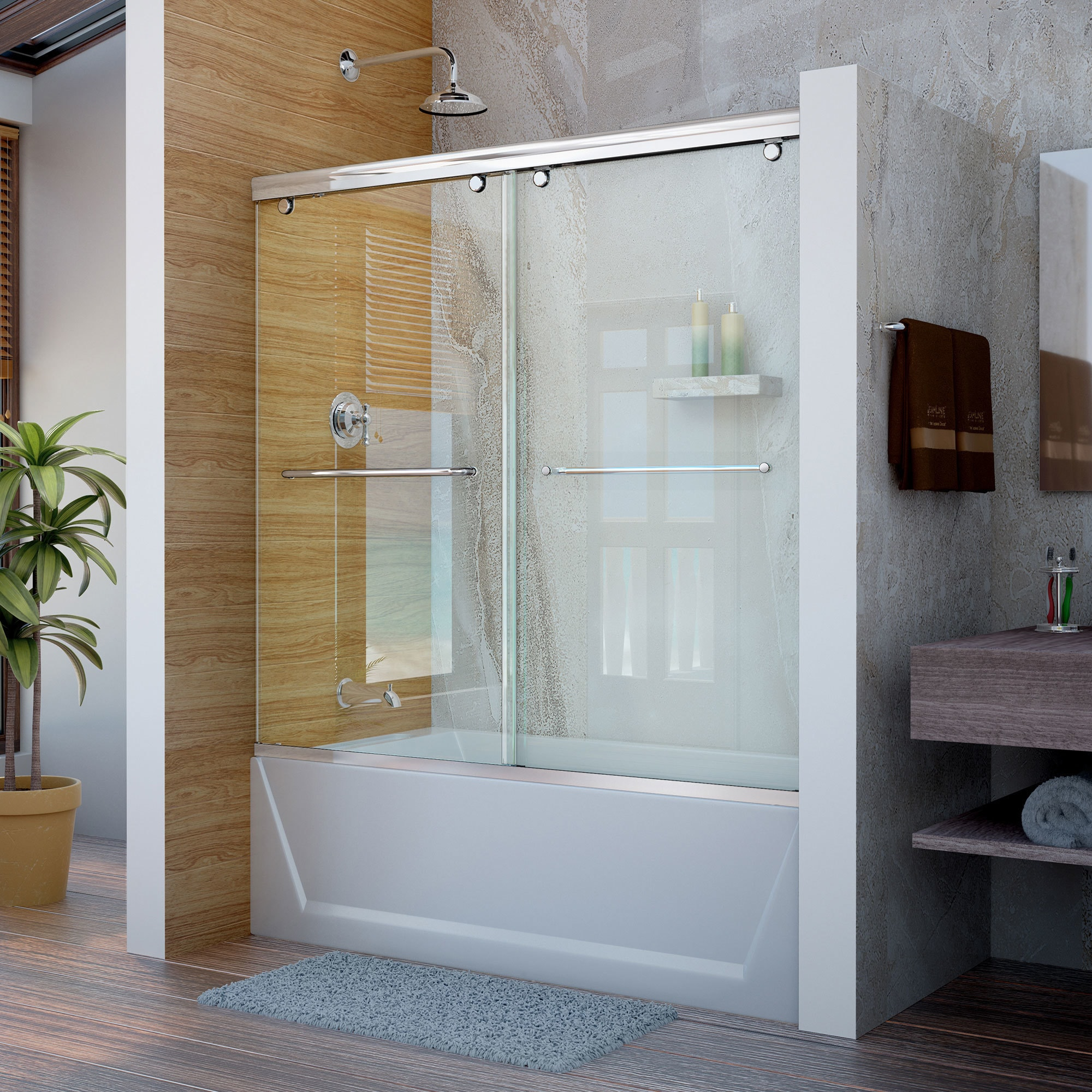 DreamLine Charisma 56 - 60 in. W x 58 in. H Bypass Sliding Tub Door ...