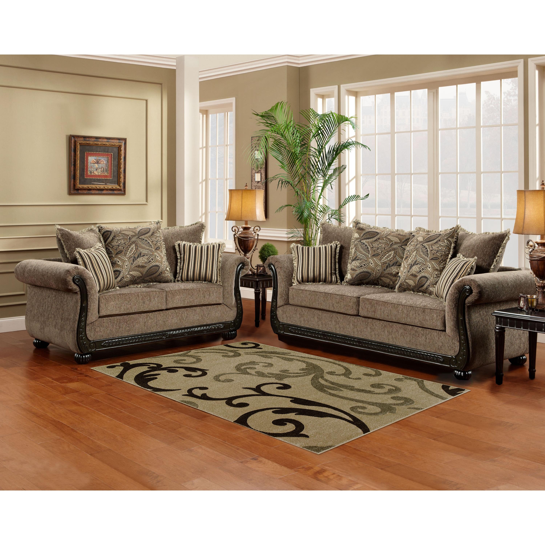 Shop Sofa Trendz Brooke TaupeBrown WoodMicrofiber Sofa