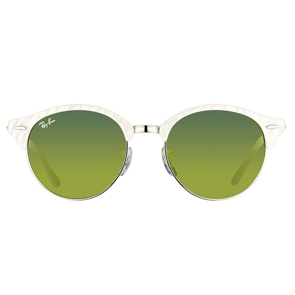 d46053352d Shop Ray-Ban RB 4246 988 2X Clubround Wrinkled White And Gold Plastic  Clubmaster Green Mirror Lens Sunglasses - Free Shipping Today - Overstock -  11837421
