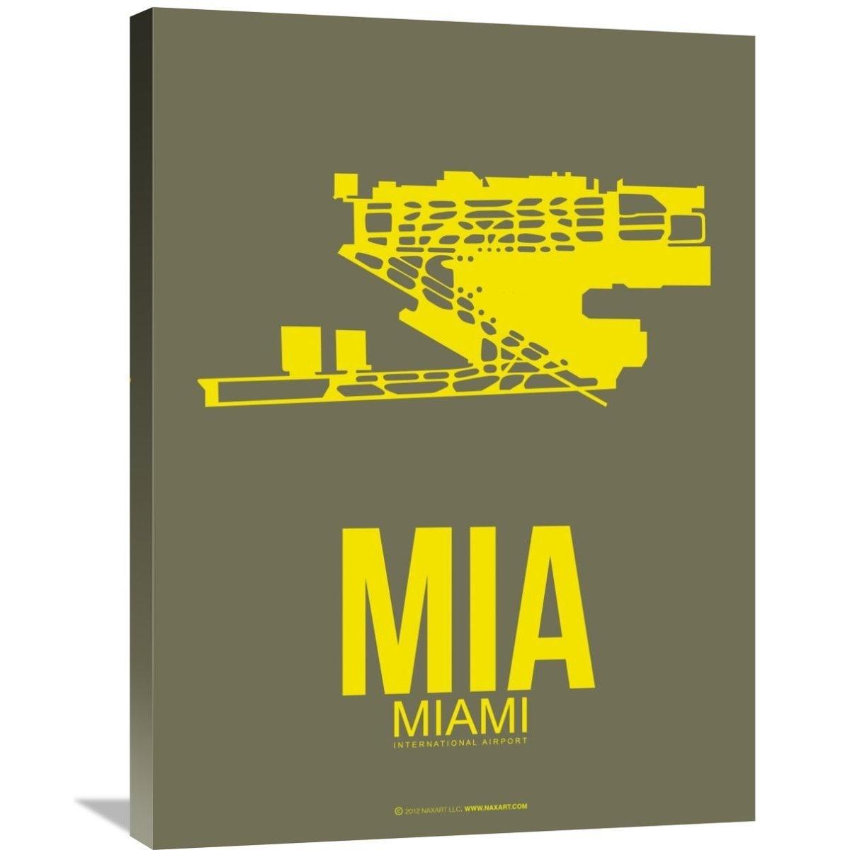 Naxart Studio \'MIA Miami Poster 1\' Stretched Canvas Wall Art - Free ...