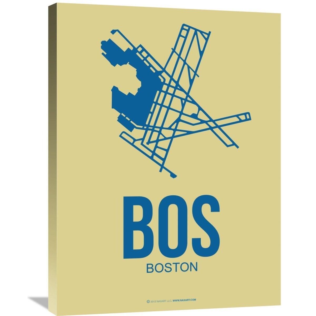 Shop Naxart Studio \'BOS Boston Poster 3\' Stretched Canvas Wall Art ...