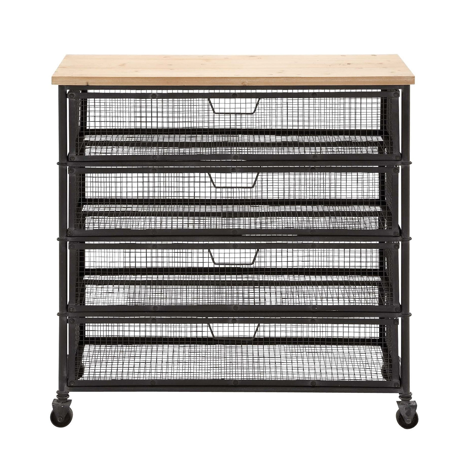 Shop Industrial Black Iron 4 Drawer Storage Cart By Studio 350   On Sale    Free Shipping Today   Overstock.com   11844758