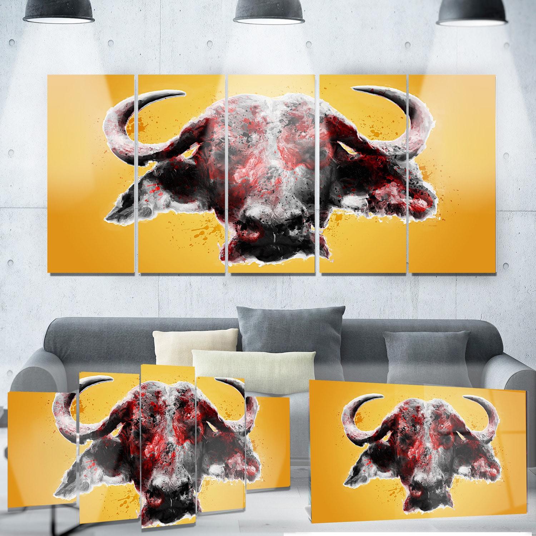 Shop Designart \'Angry Bull\' Animal Metal Wall Art - On Sale - Free ...
