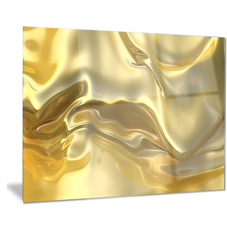 Designart \'Golden Cloth Texture\' Abstract Digital Art Metal Wall Art ...