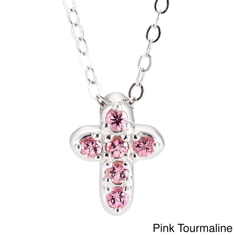 69f4978b9863e Sterling Silver Birthstone Cross Pendant Necklace