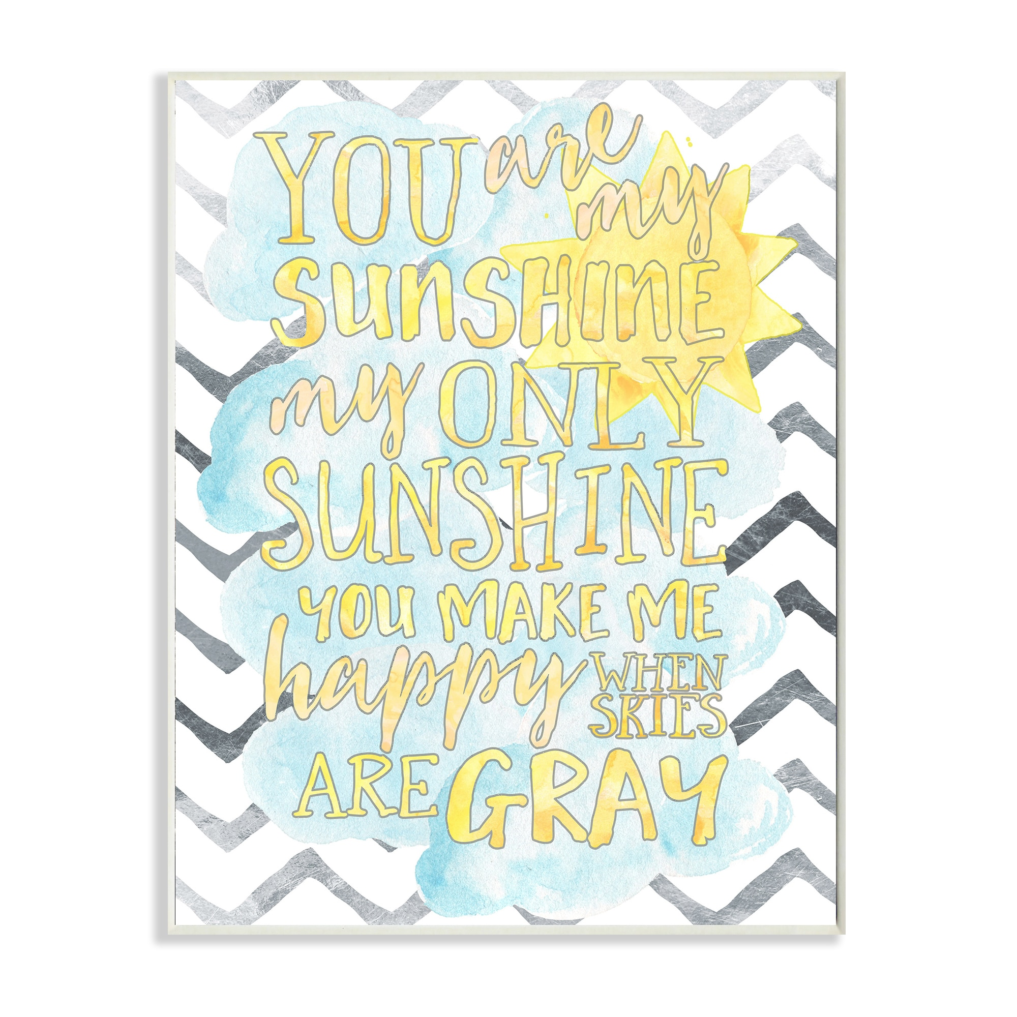 You are My Sunshine\' Watercolors Chevron Wall Plaque Art - Free ...