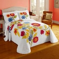 Primavera Cotton Ribbed Chenille Bedspread with Floral Applique