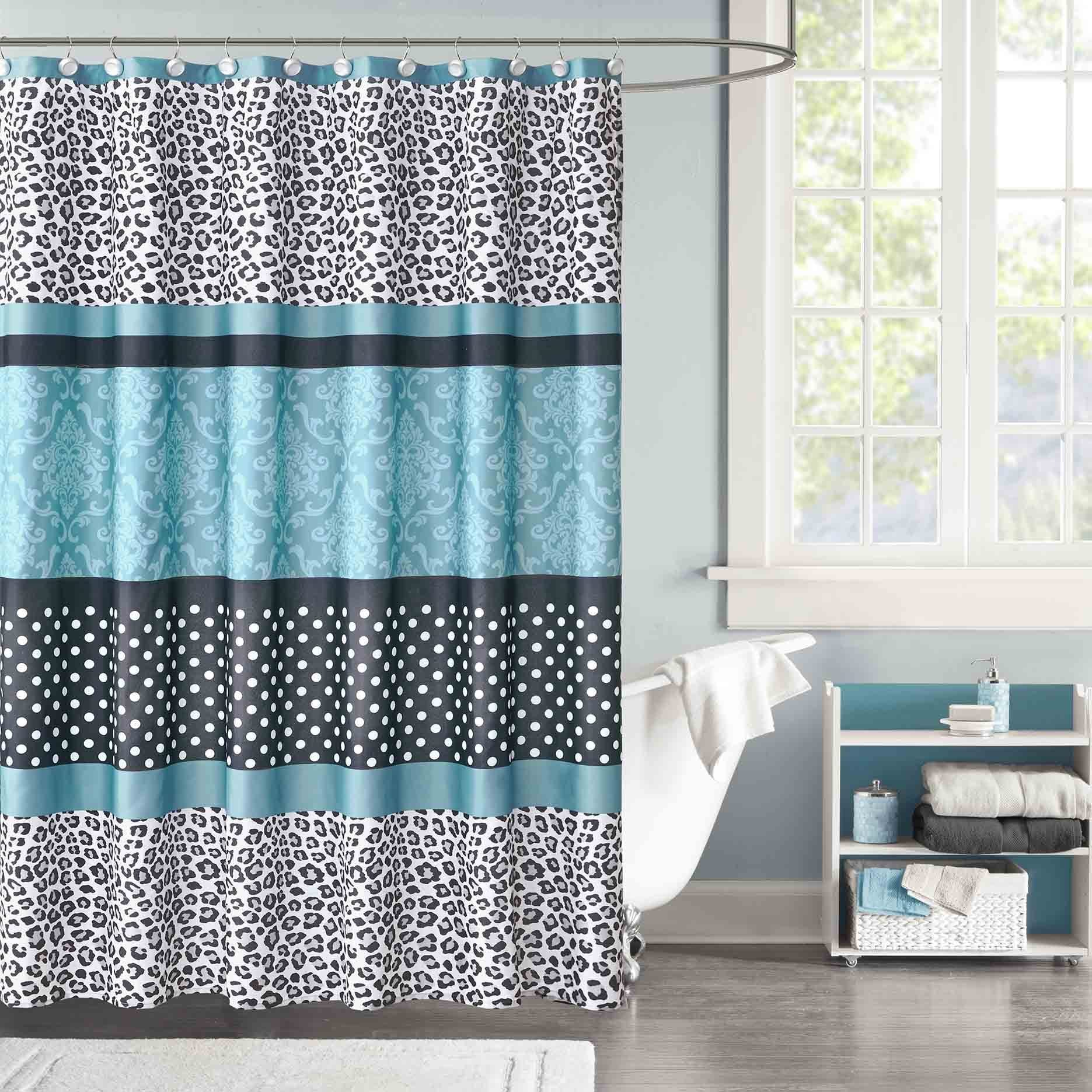 Shop Mi Zone Camille Teal Microfiber Shower Curtain - On Sale - Free ...