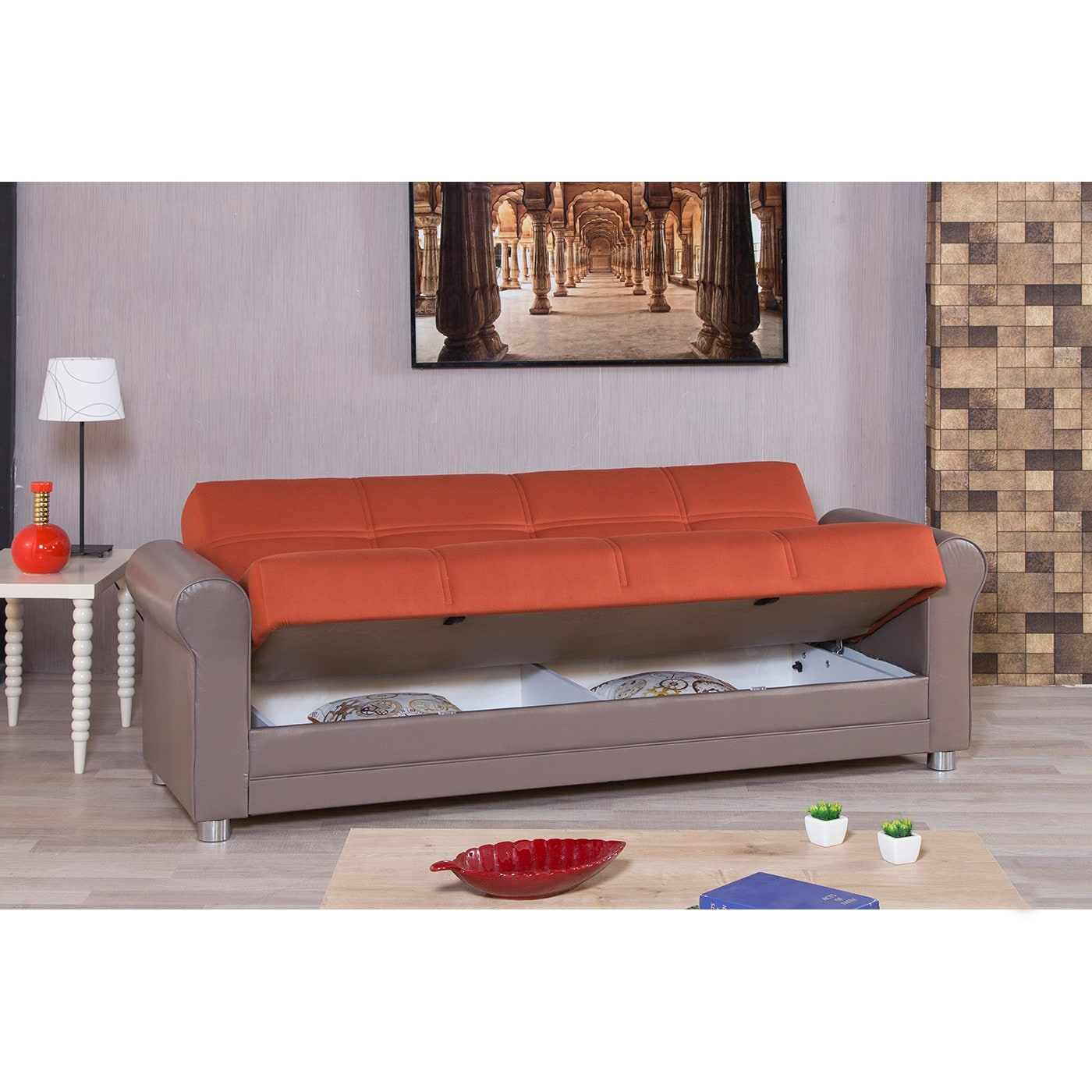 free abbyson shipping product futon overstock leather red today faux garden newport sofa home sleeper