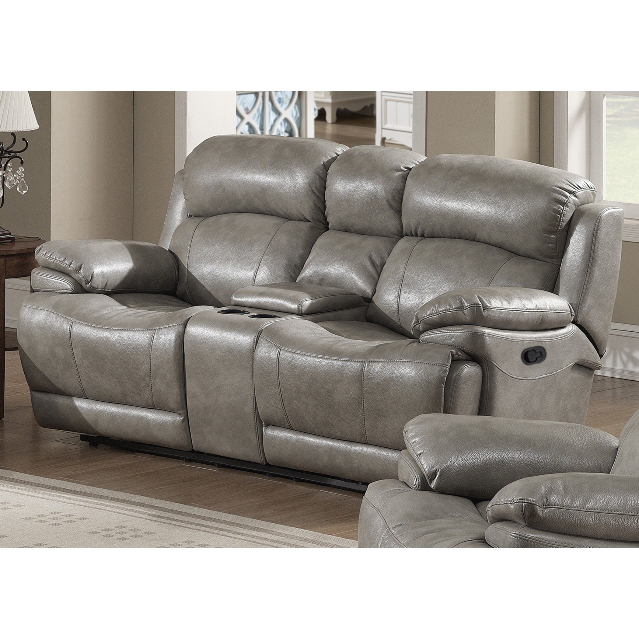 Estella Contemporary Reclining Sofa Loveseat With Storage Console  ~ Sofa Recliner With Console