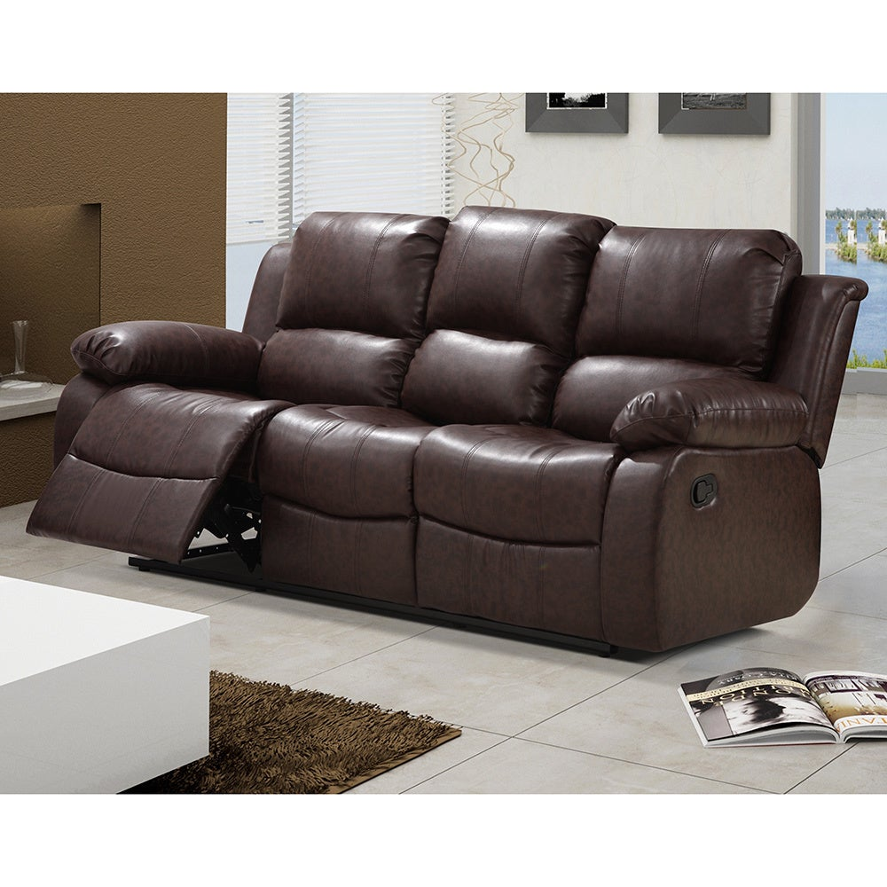 Beau Shop Madison Bonded Leather Modern Reclining Sofa With Drop Down Tea Table    Free Shipping Today   Overstock.com   11855688