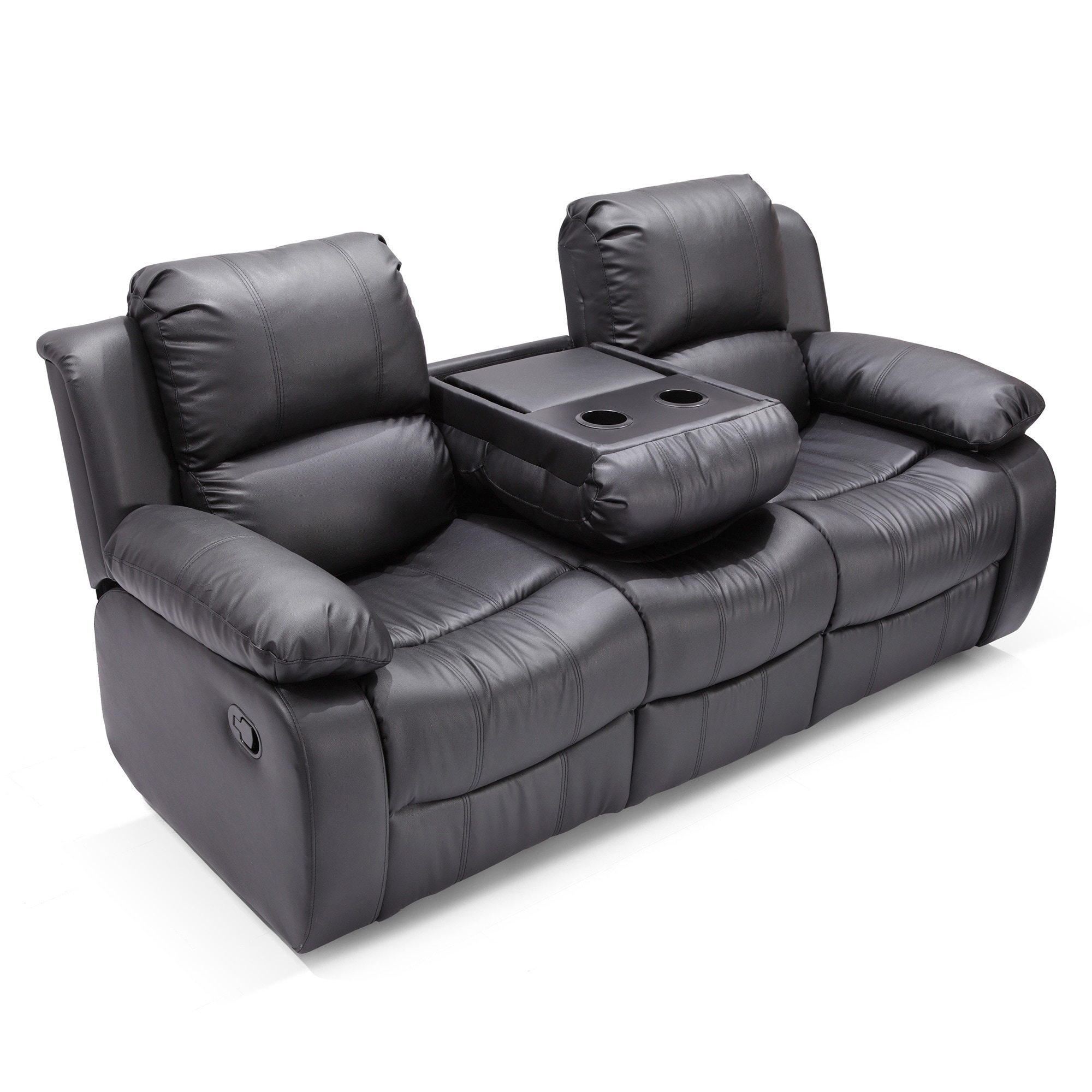 Madison Bonded Leather Modern Reclining Sofa With Drop Down Tea Table Free Shipping Today 11855688