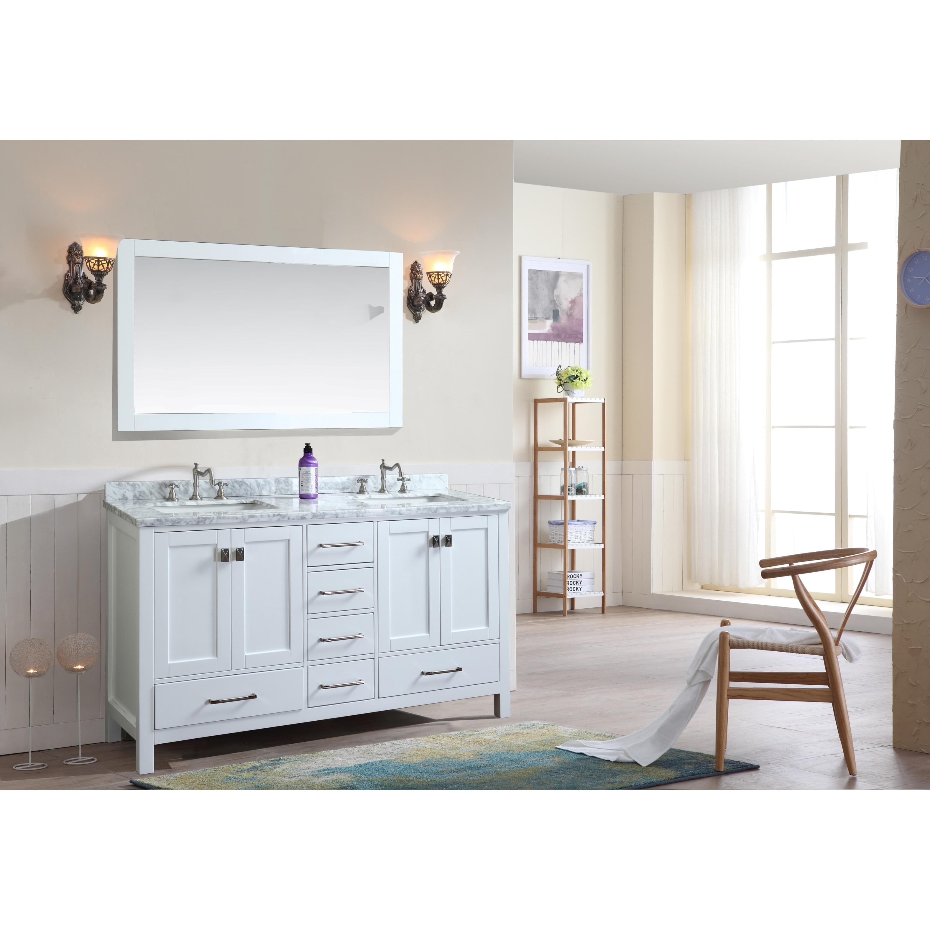 Bella White Birchwood 60-inch Double Bathroom Vanity Set With Mirror ...