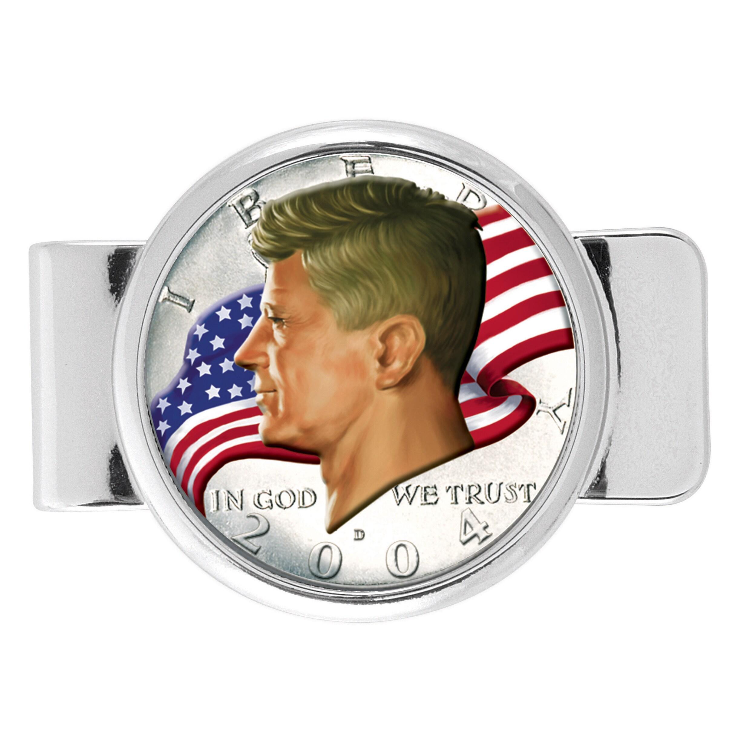 American Coin Treasures Silver Overlay JFK Half Dollar Colorized American  Flag Money Clip