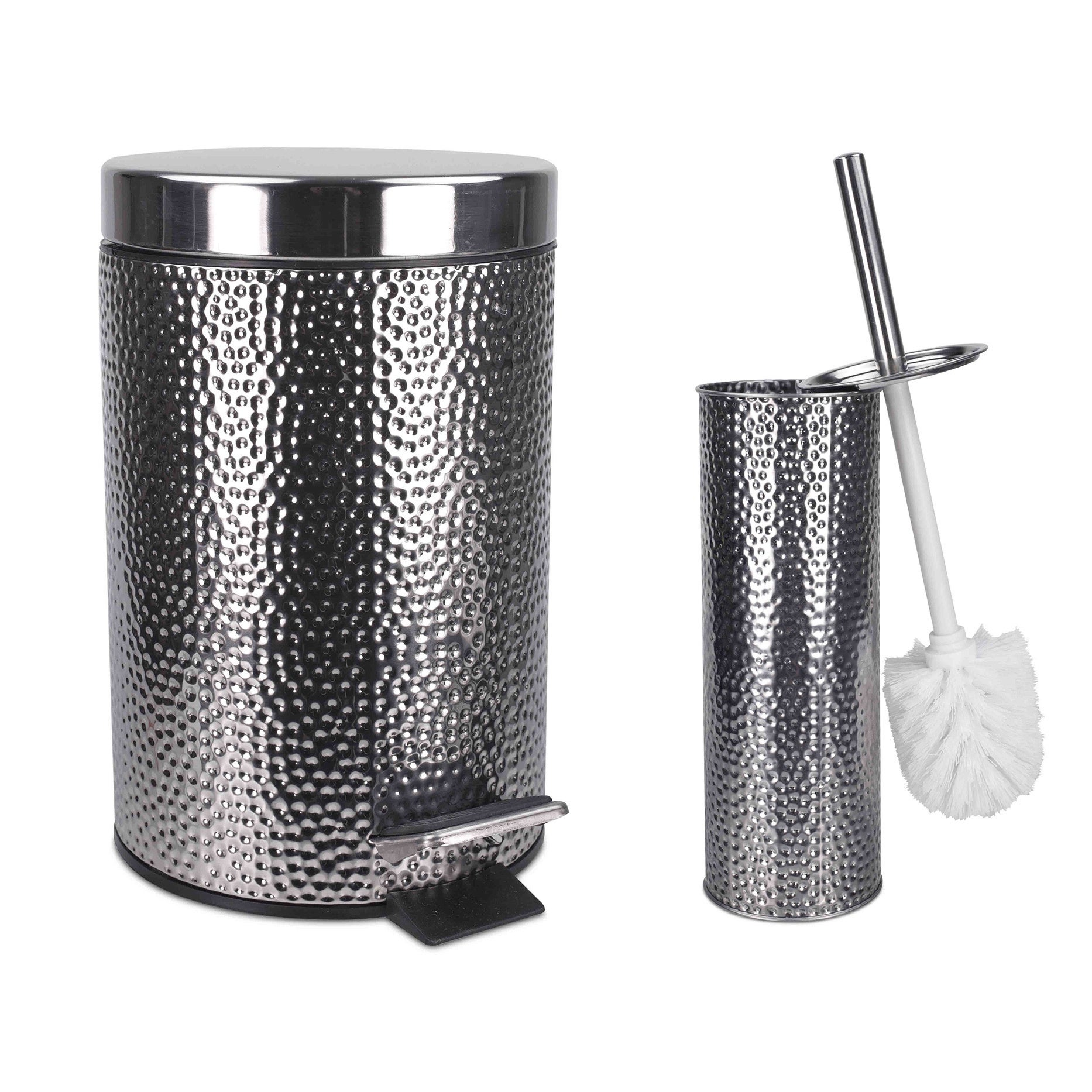Shop Home Basics Deluxe Hammered Stainless Steel Bathroom ...